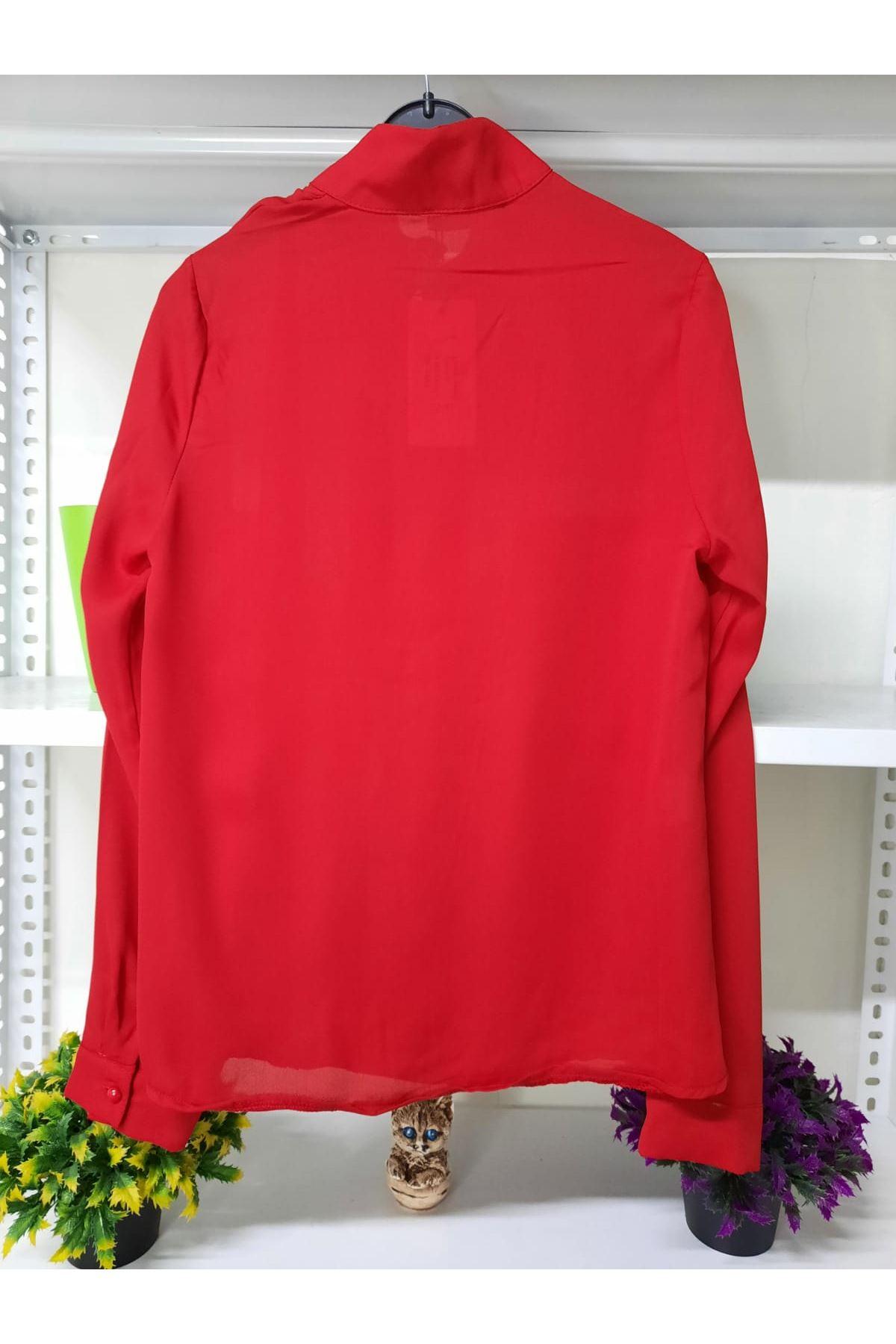 Düğme Detaylı Bluz - kırmızı