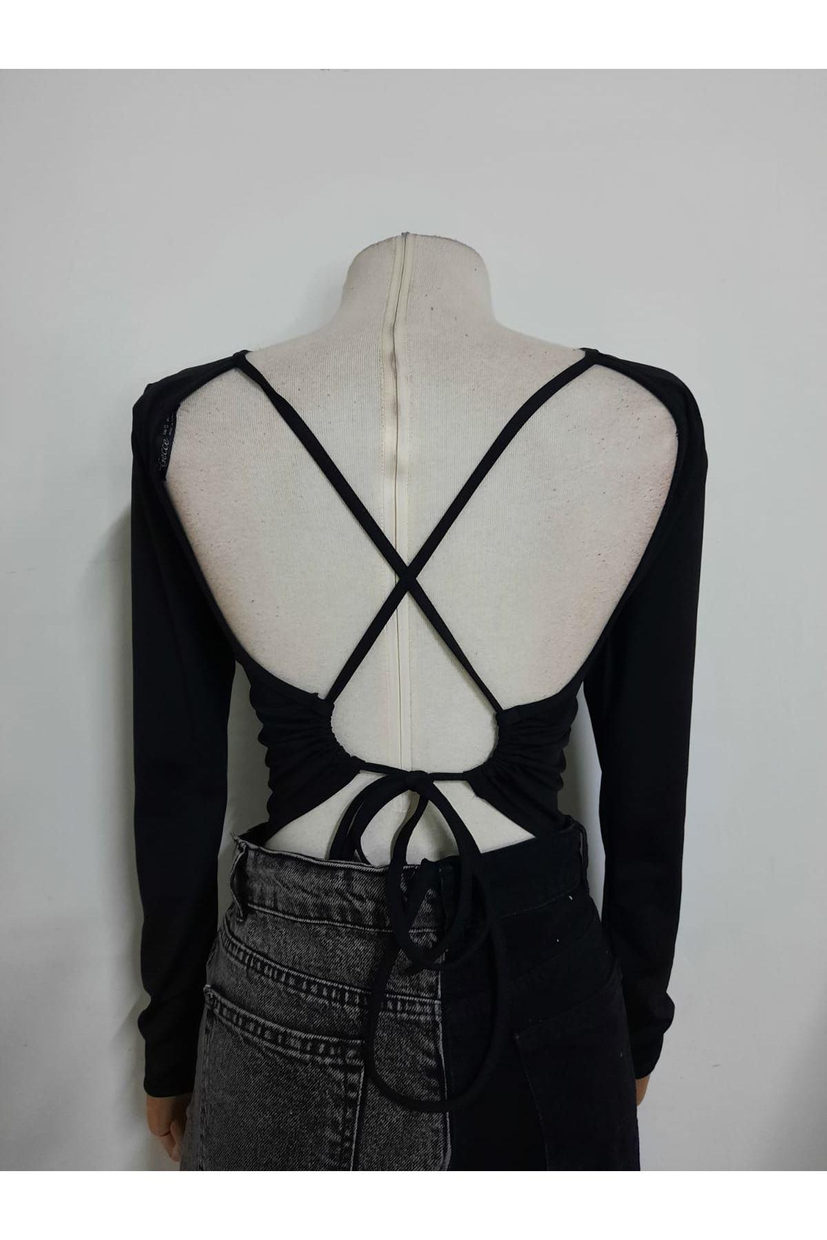 Sırt Bağlamalı Bluz - siyah