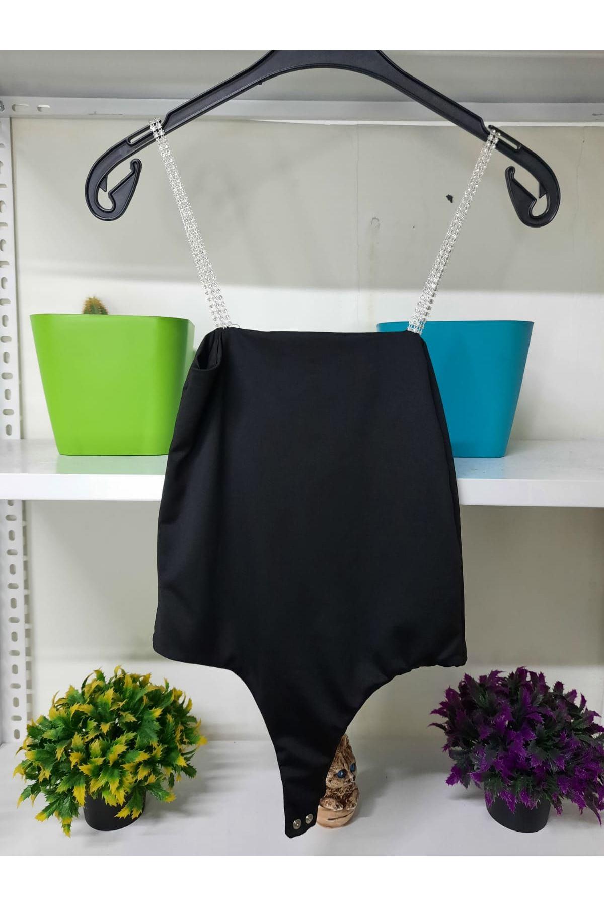 Taş Askılı Bodysuit  - siyah