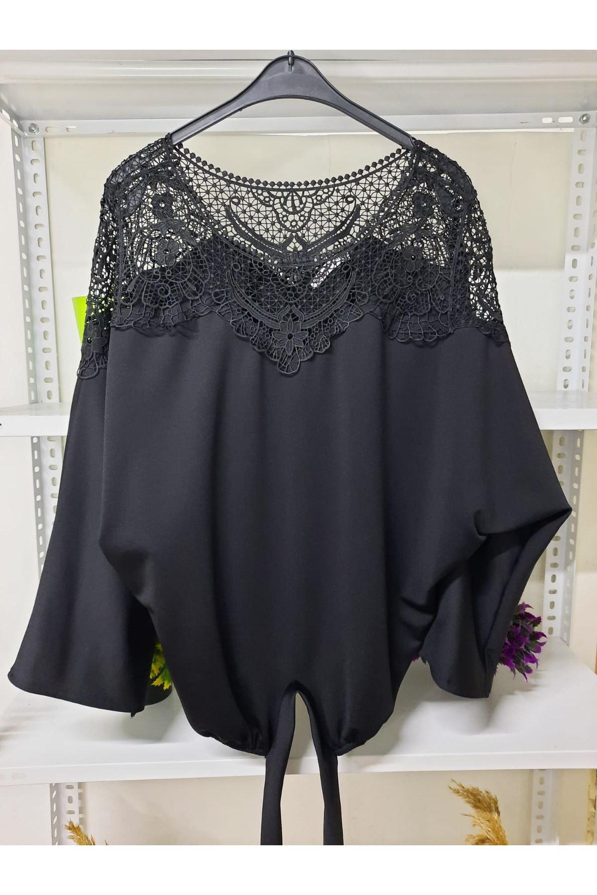 Güpür Detaylı Bluz - siyah