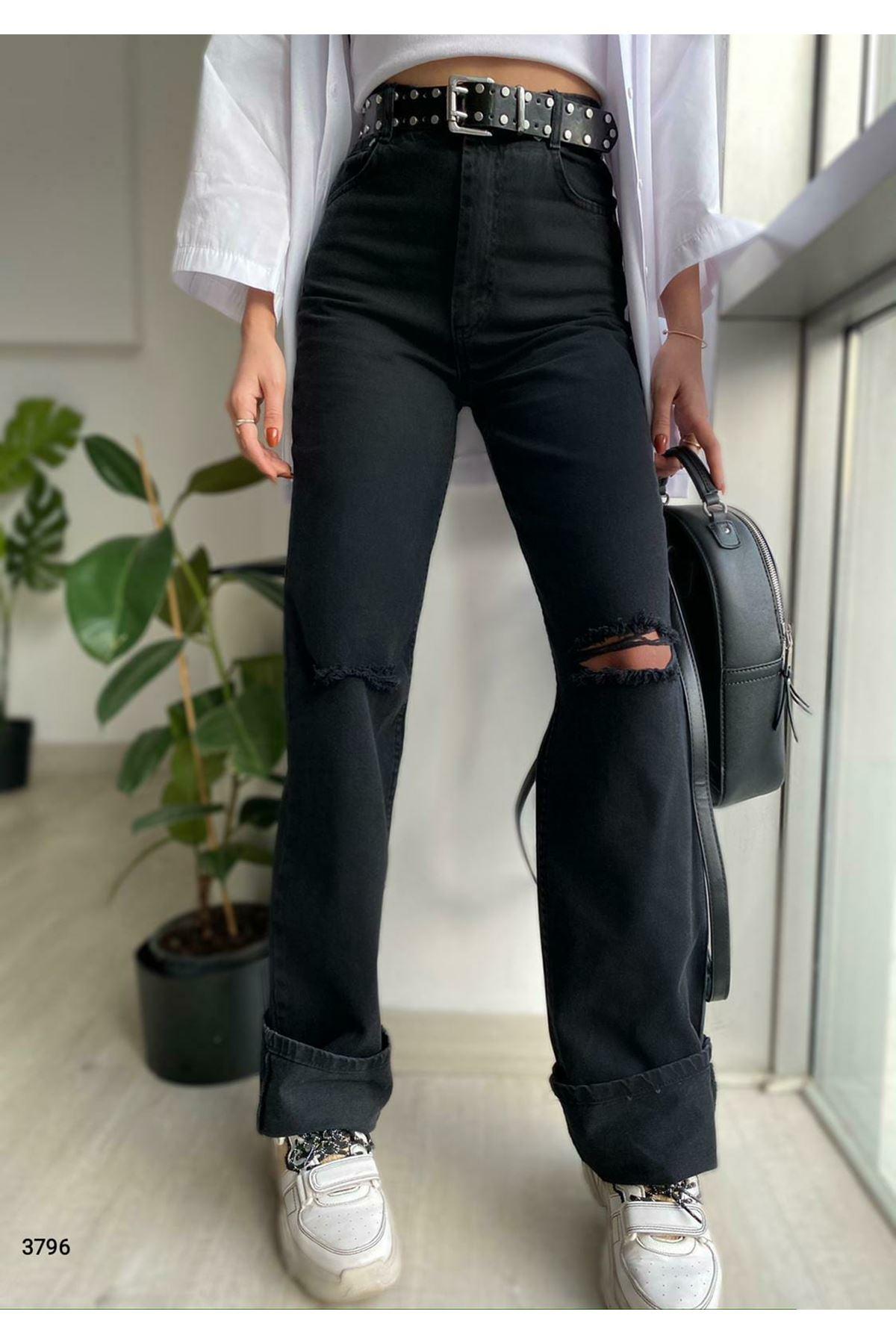 Dizi Yırtık Kot Pantolon - siyah