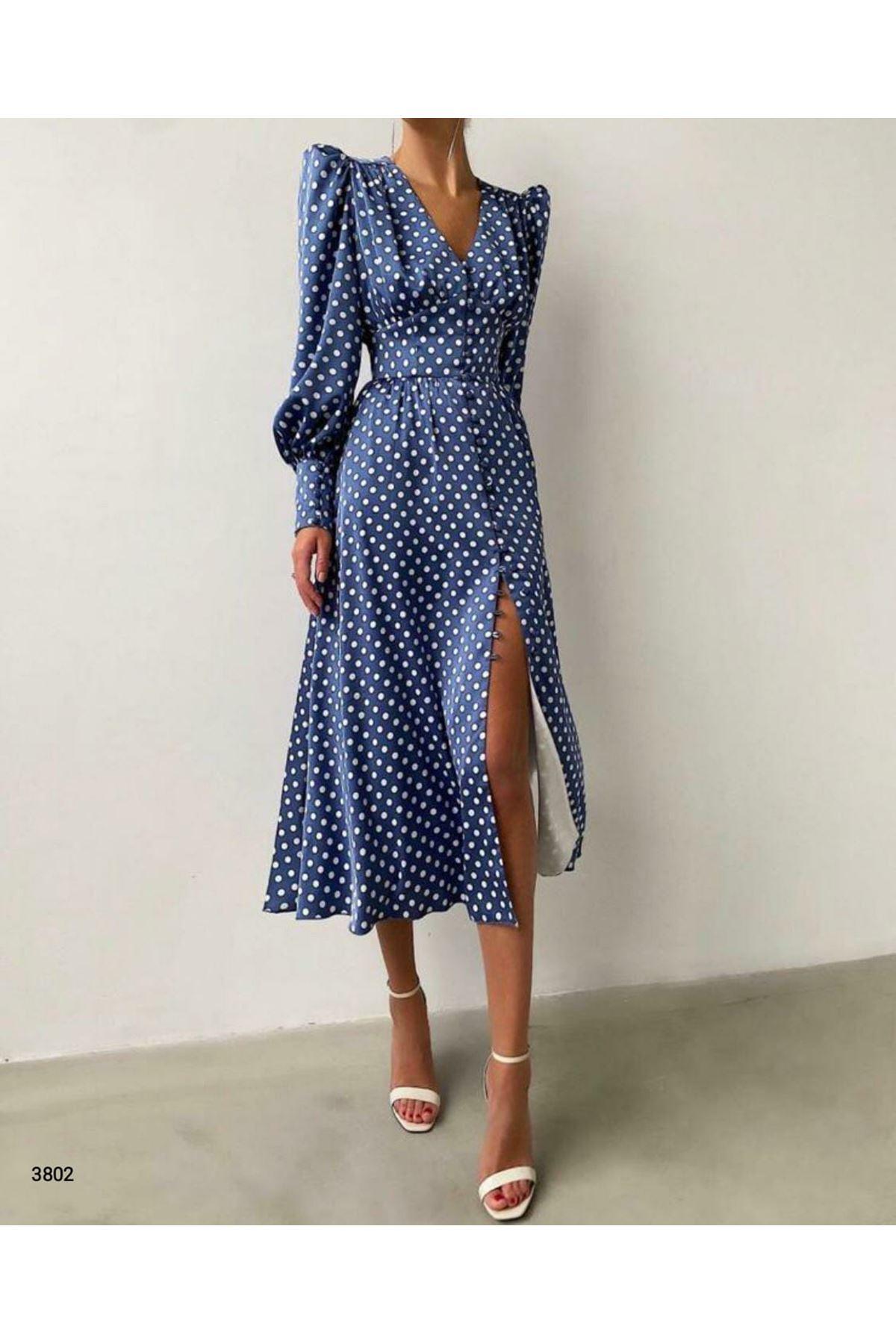 Puan Desen Saten Elbise - mavi