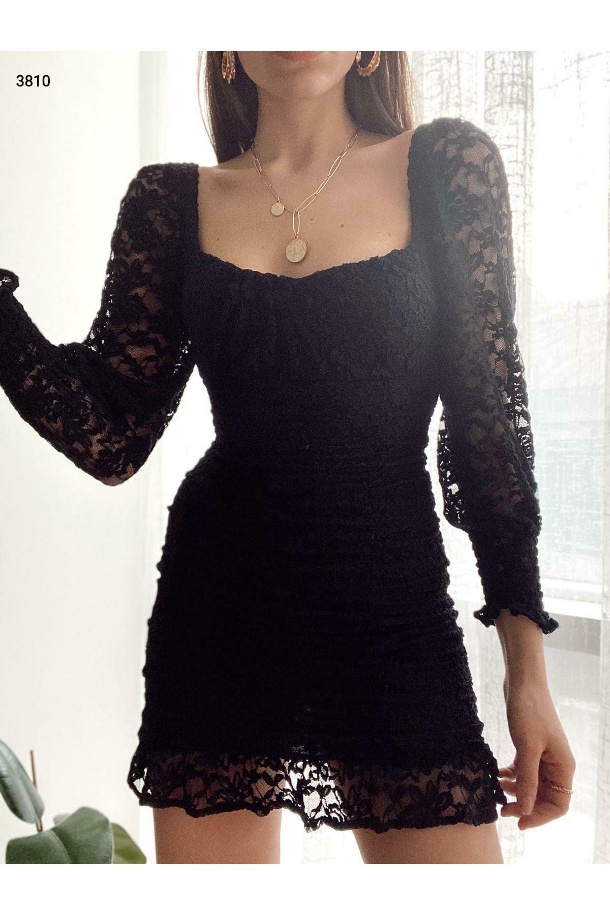 Drape Dantel Elbise - siyah