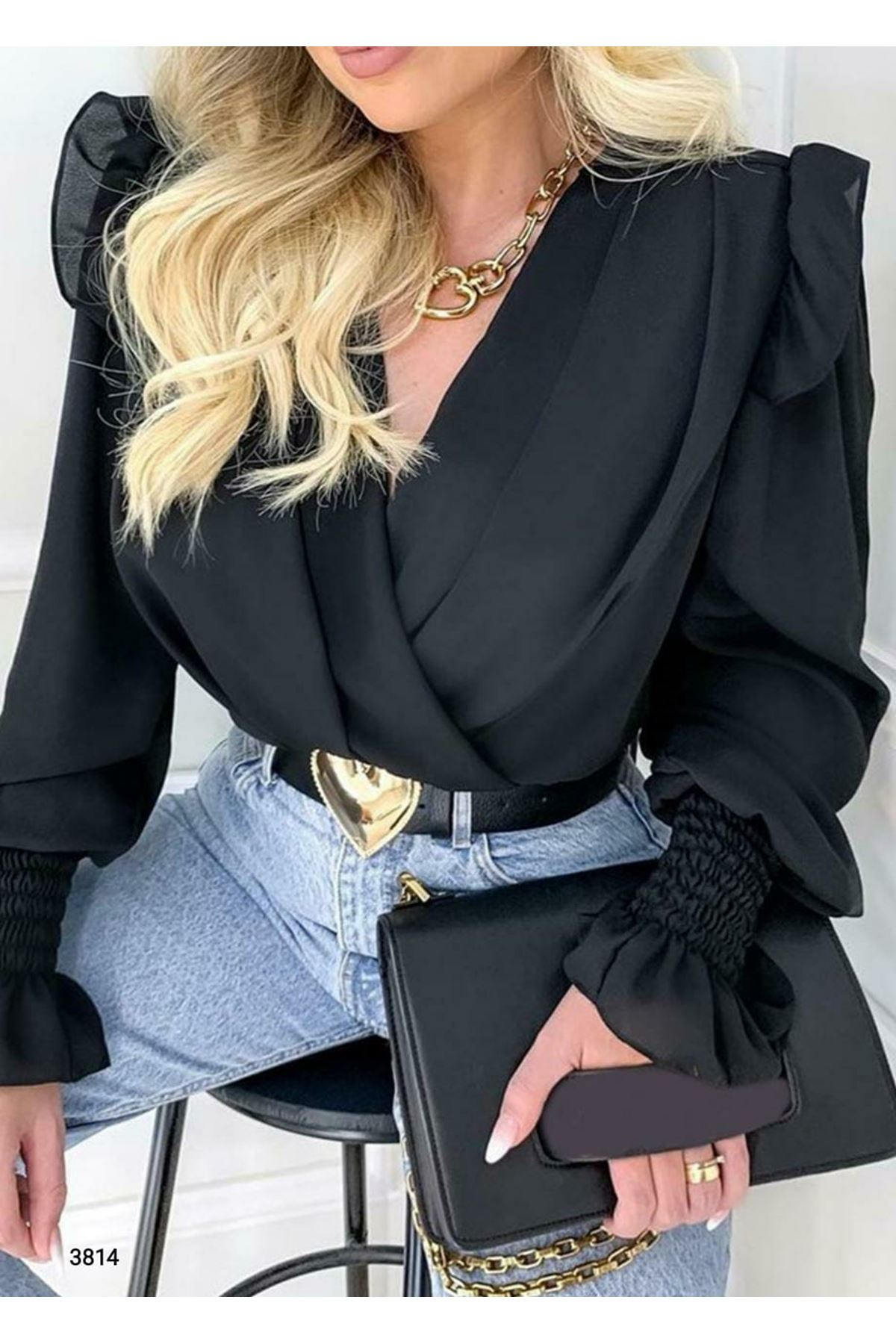 Saten Kumaş Cıtcıtlı Bodysuit - siyah