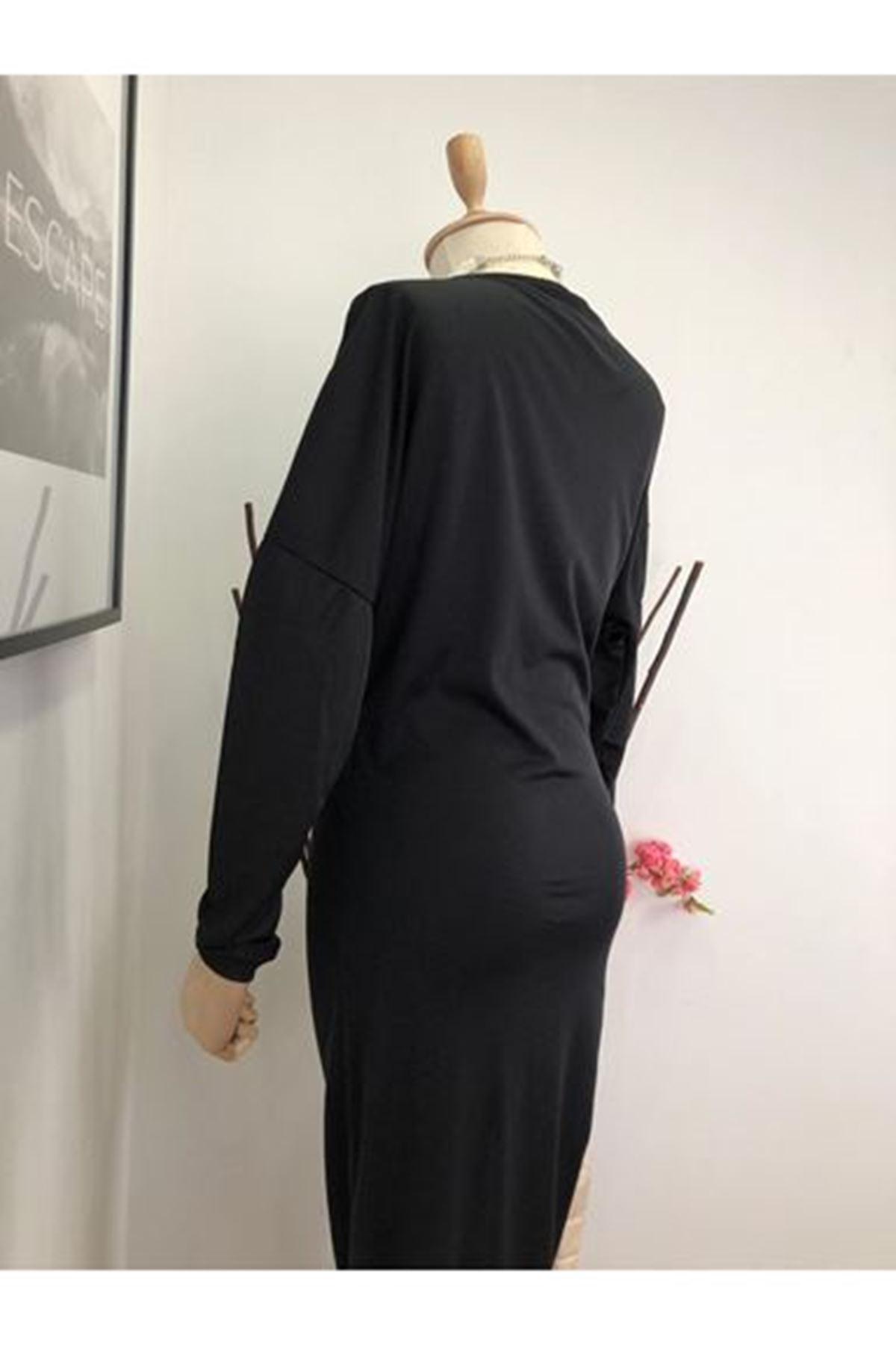 Asimetrik Uzun Elbise - siyah