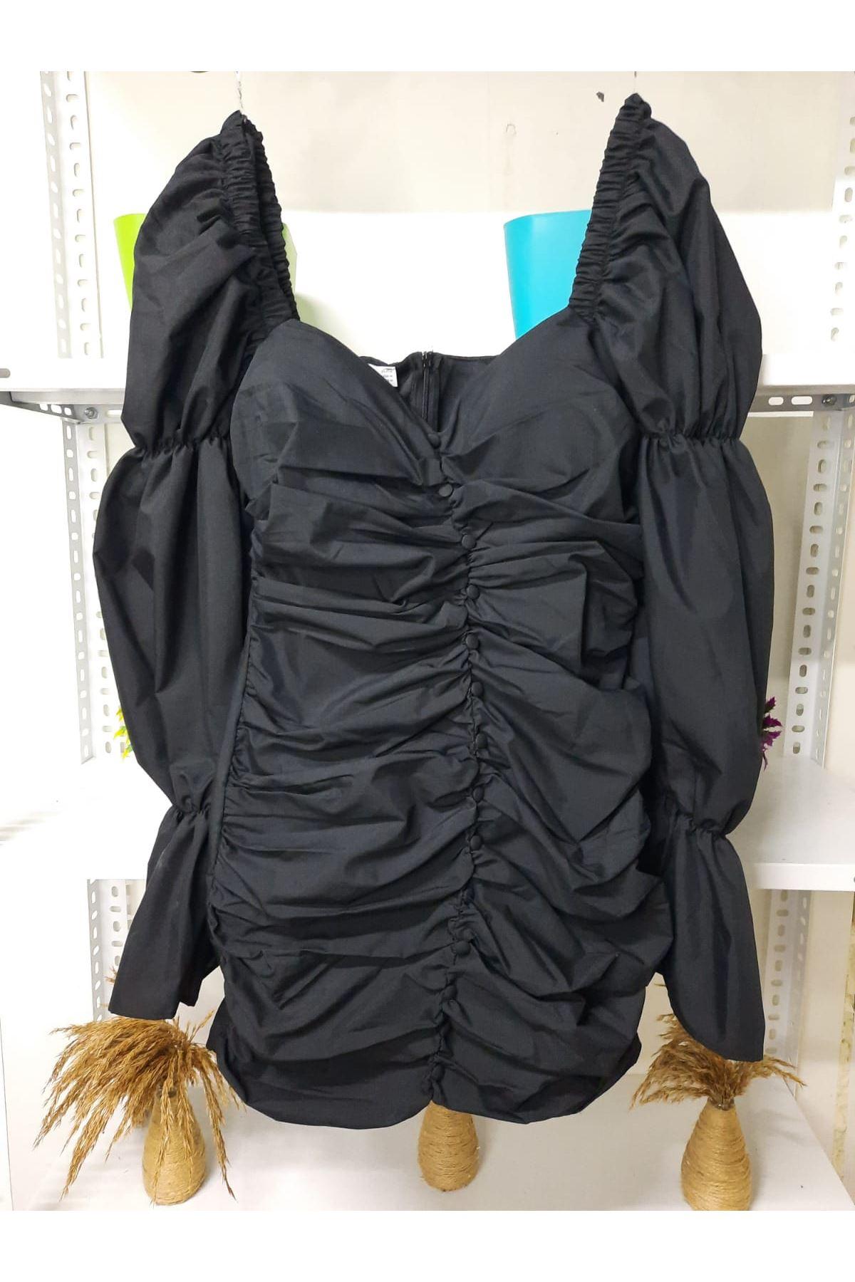 Drape Düğmeli Elbise - siyah