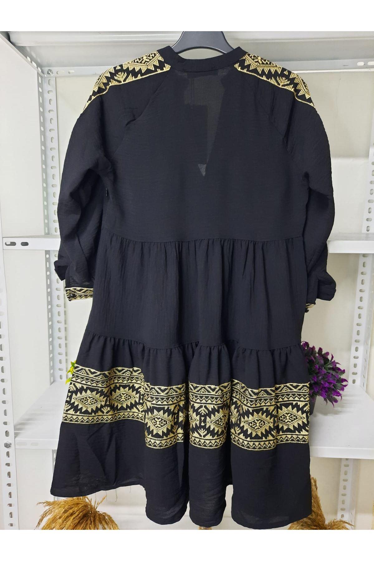 Nakış Detaylı Elbise - SİYAH