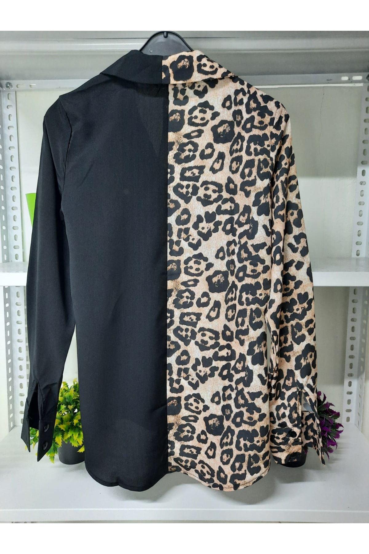 Melek Kanat Detaylı Gömlek - leopar