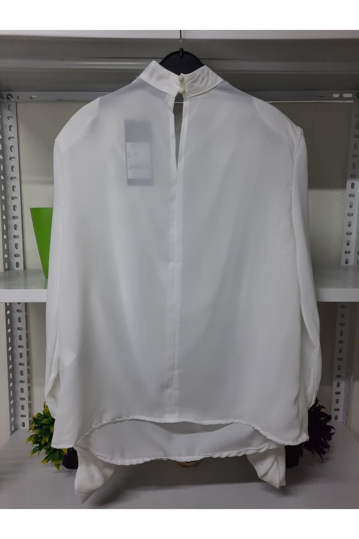 Omuz Vatkalı Bluz - beyaz