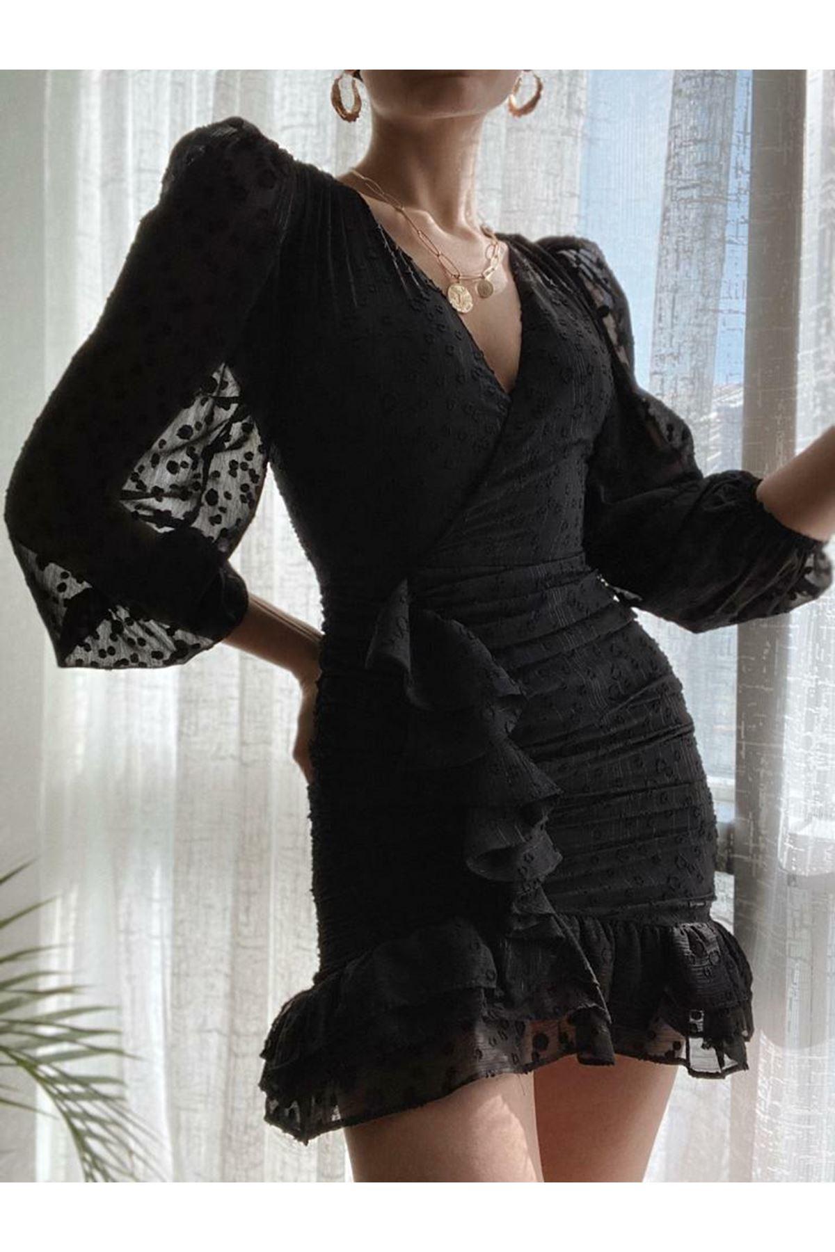 Puanlı Mini Elbise - siyah