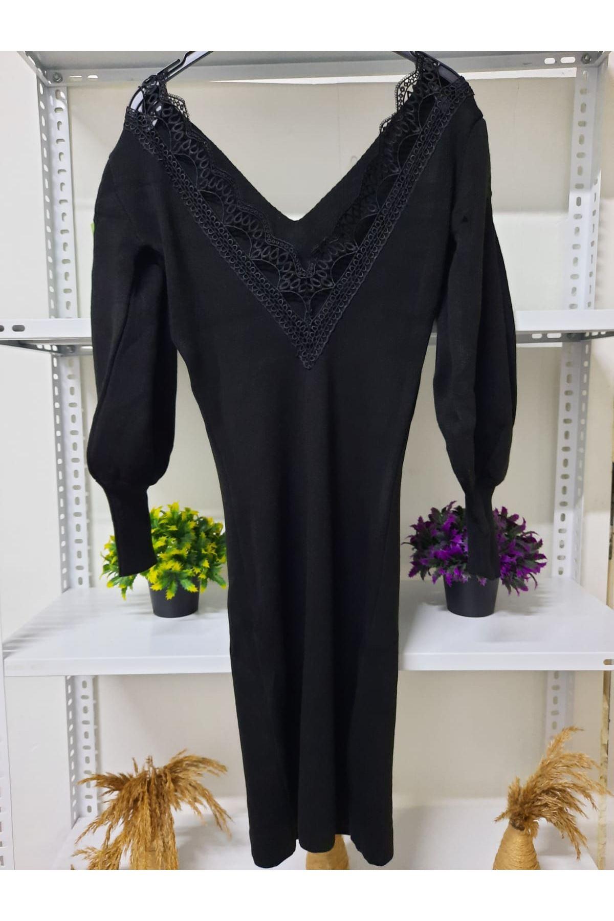 Sırt V Yaka Triko Elbise - siyah