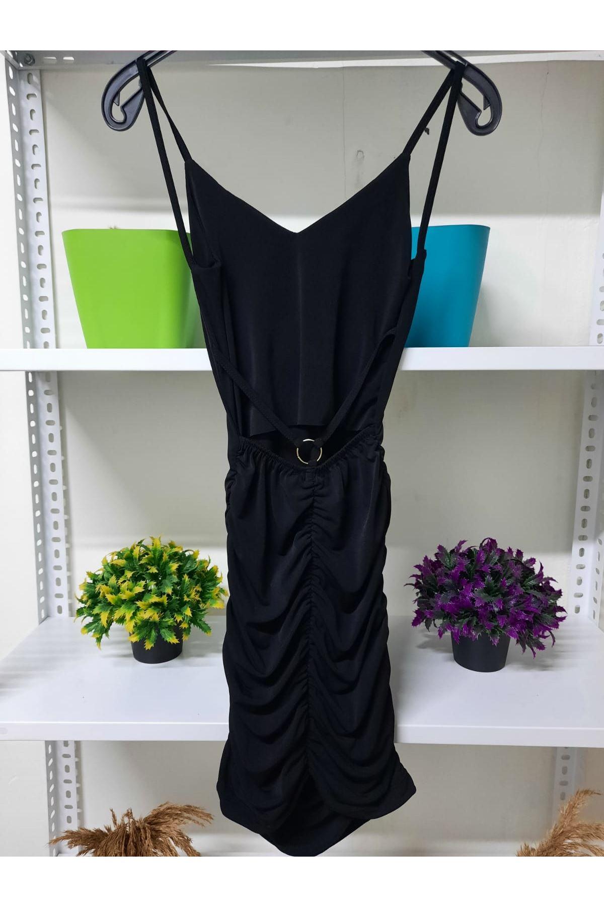 Halka Detaylı Mini Elbise - siyah