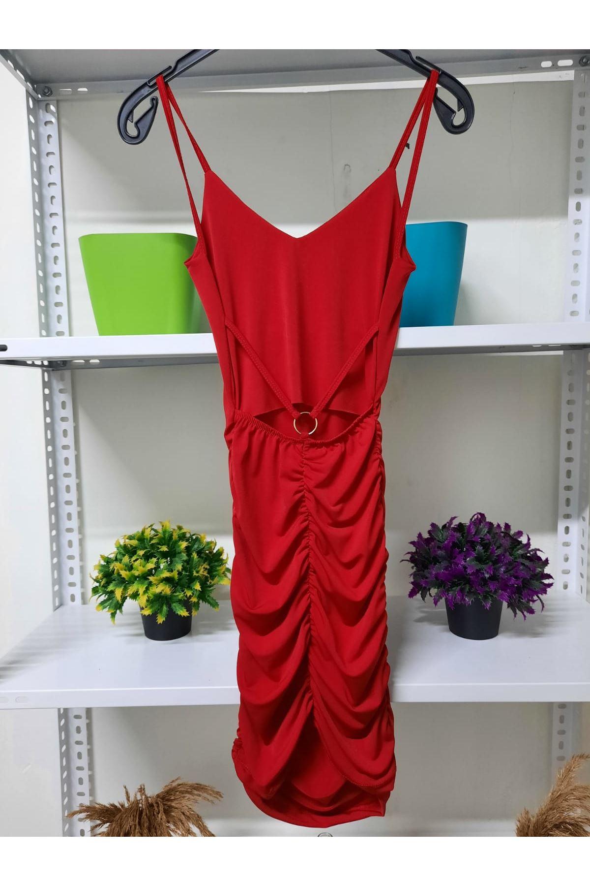 Halka Detaylı Mini Elbise - kırmızı