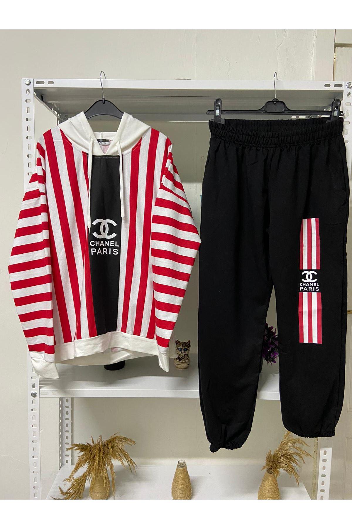 Chanel Çizgili İkili Takım - siyah