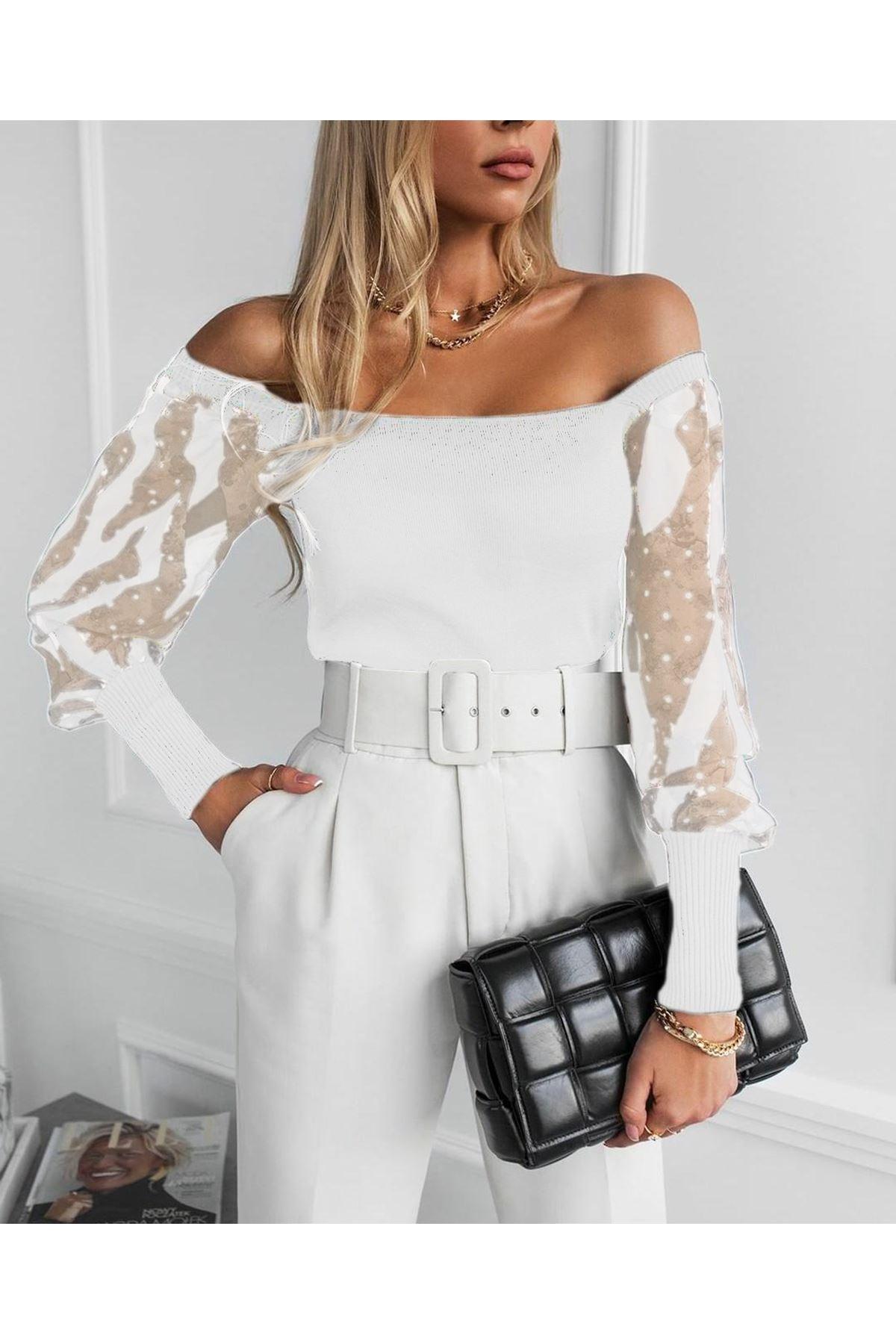 Kol Tül ve Puan Detaylı Bluz - beyaz