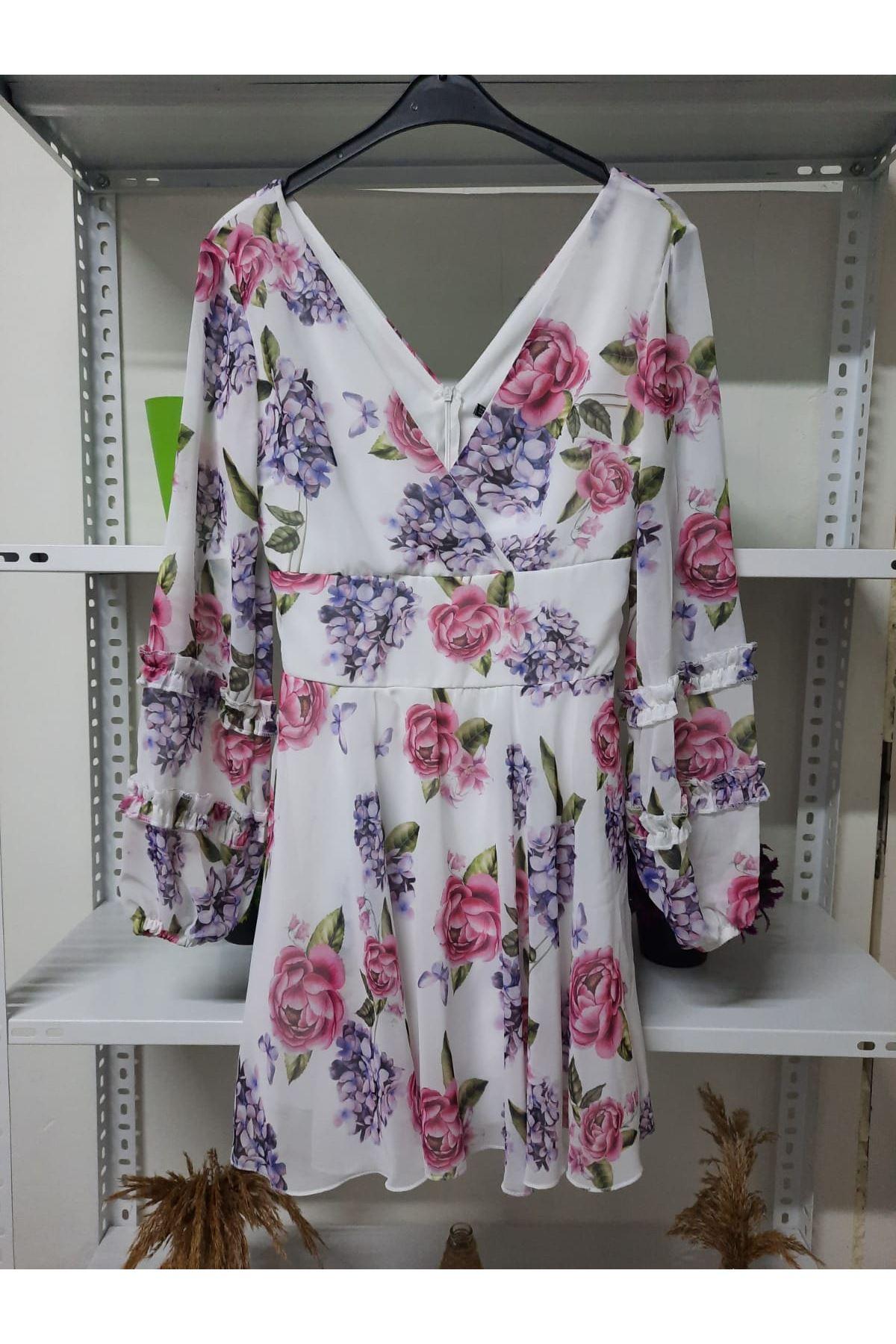 Çiçek Desen Astarlı Elbise - beyaz