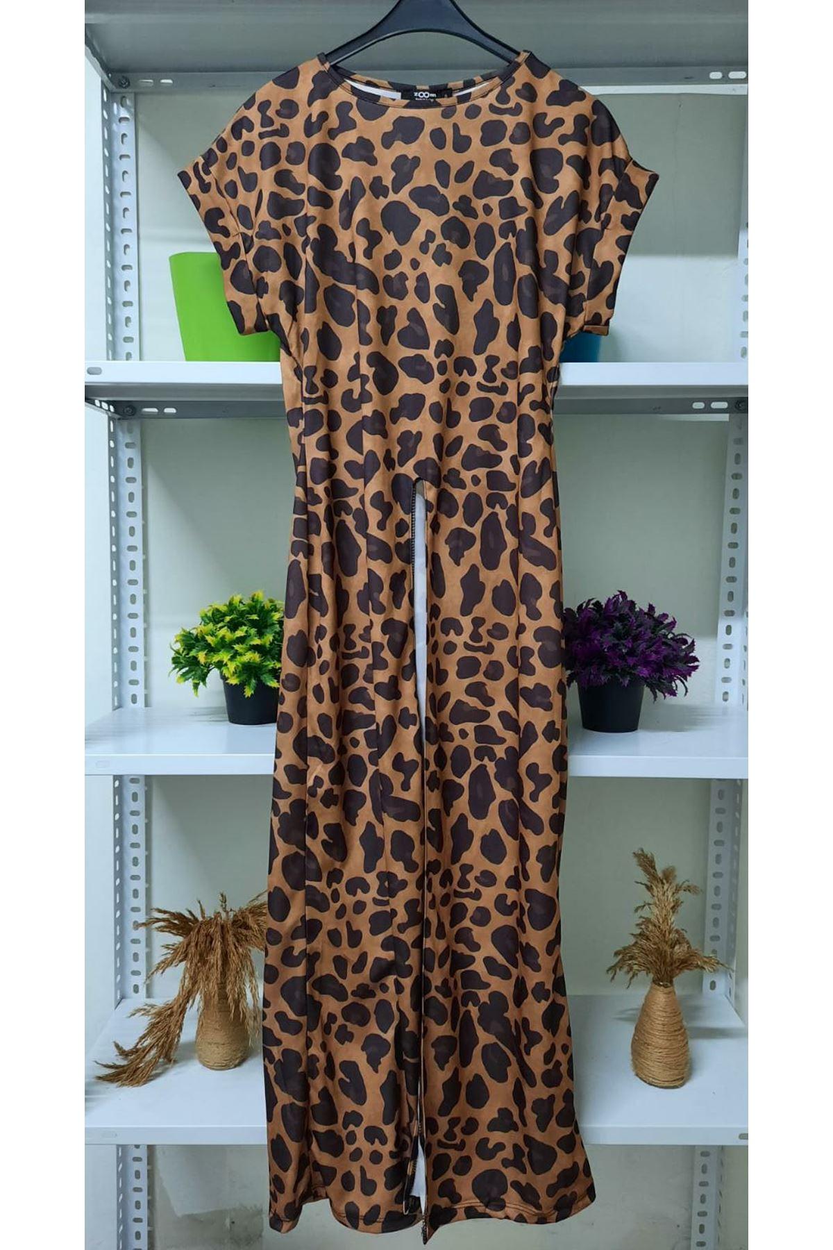 Yırtmaç Detaylı Leopar Elbise - vizon