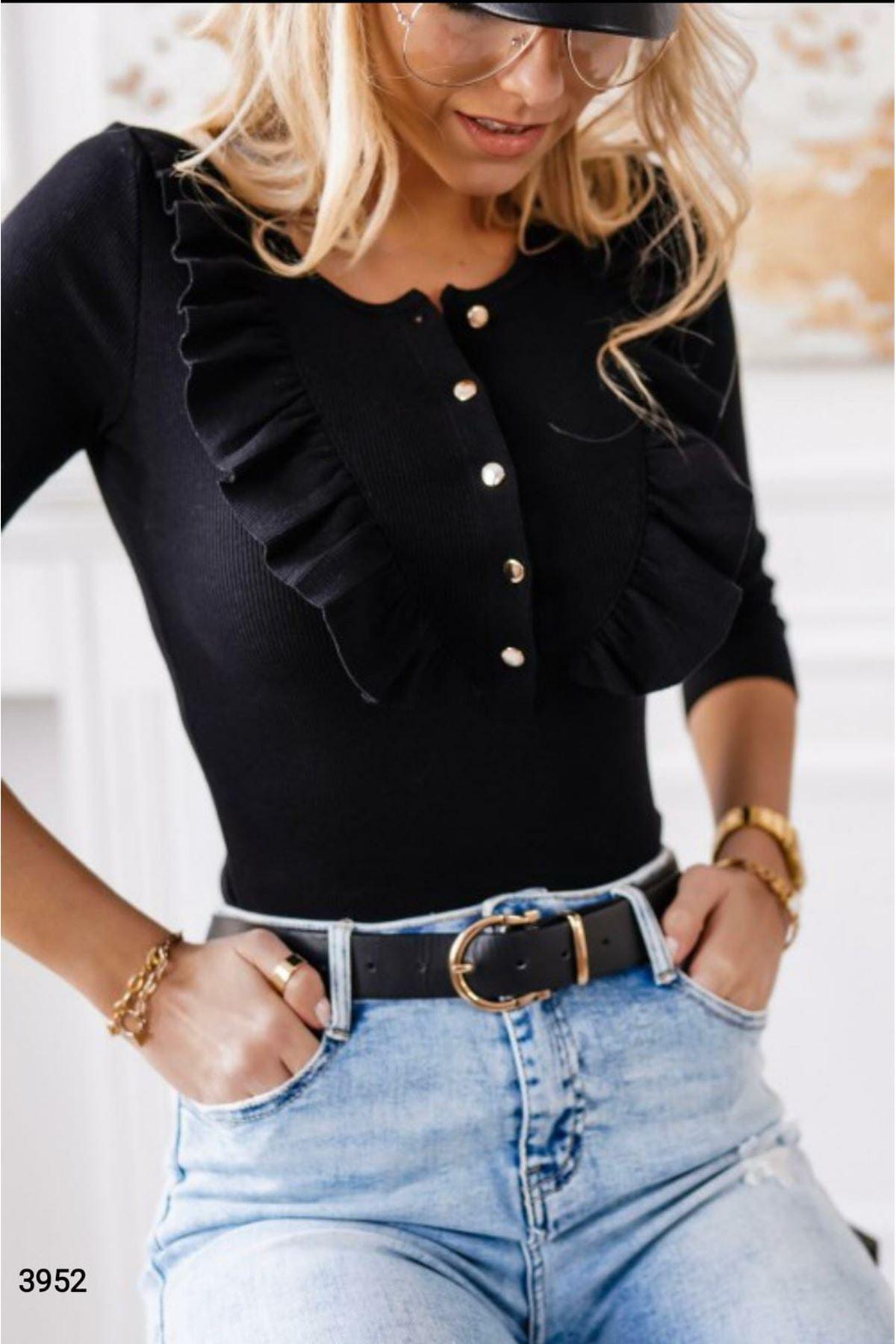 Fırfırlı Kaşkorse Bluz - siyah