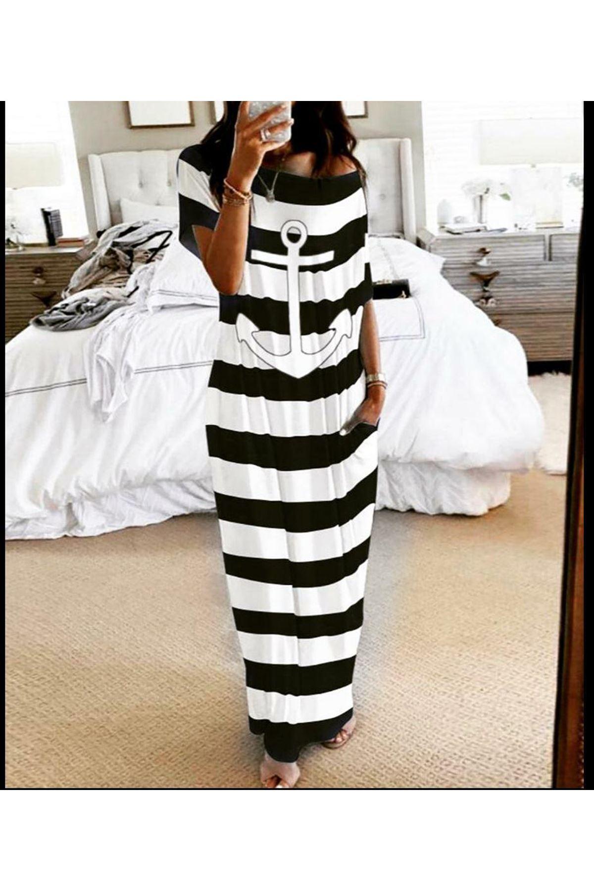 Çapa Baskılı Çizgi Desen Elbise - siyah