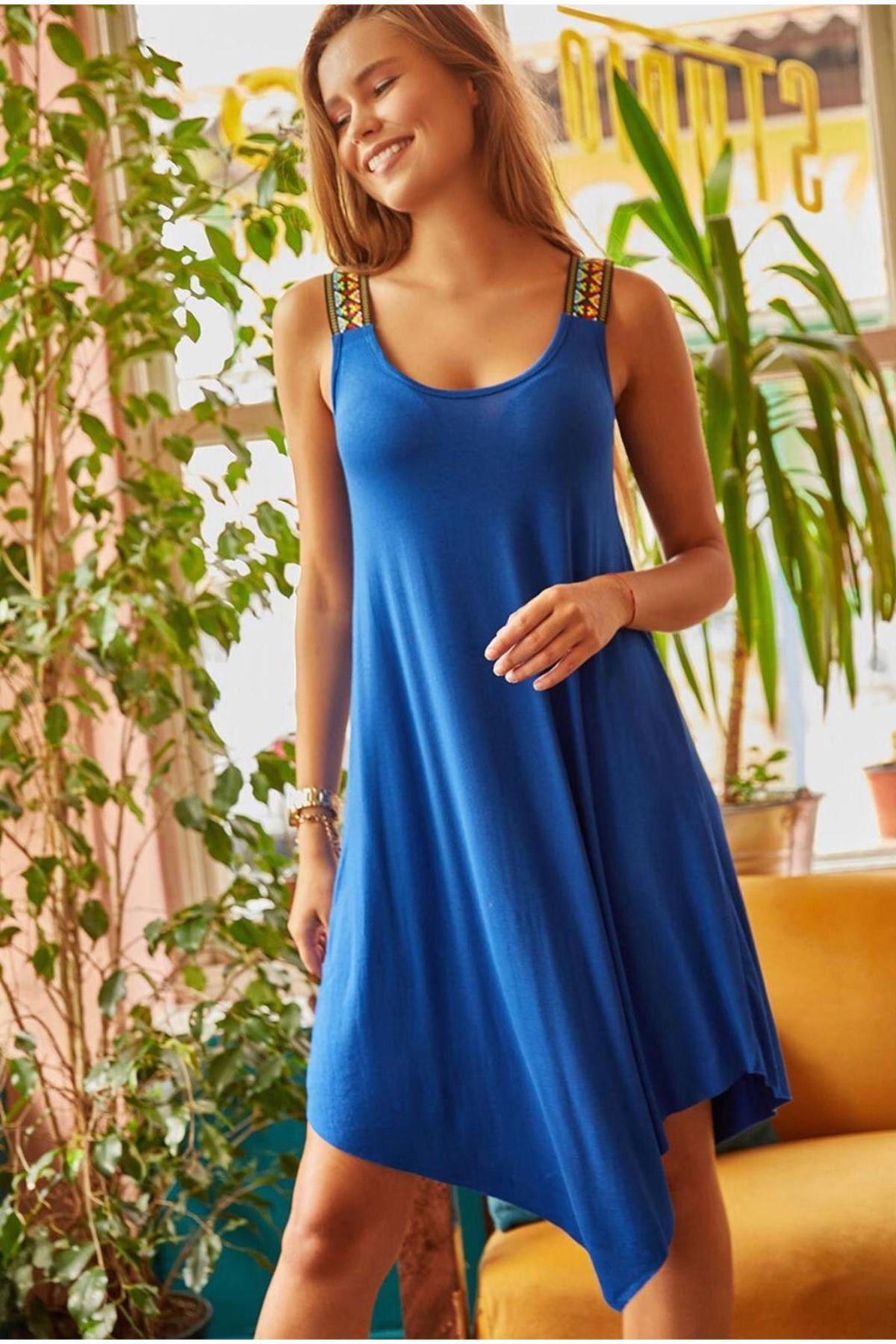 Omuz Detaylı Viskon Elbise - mavi