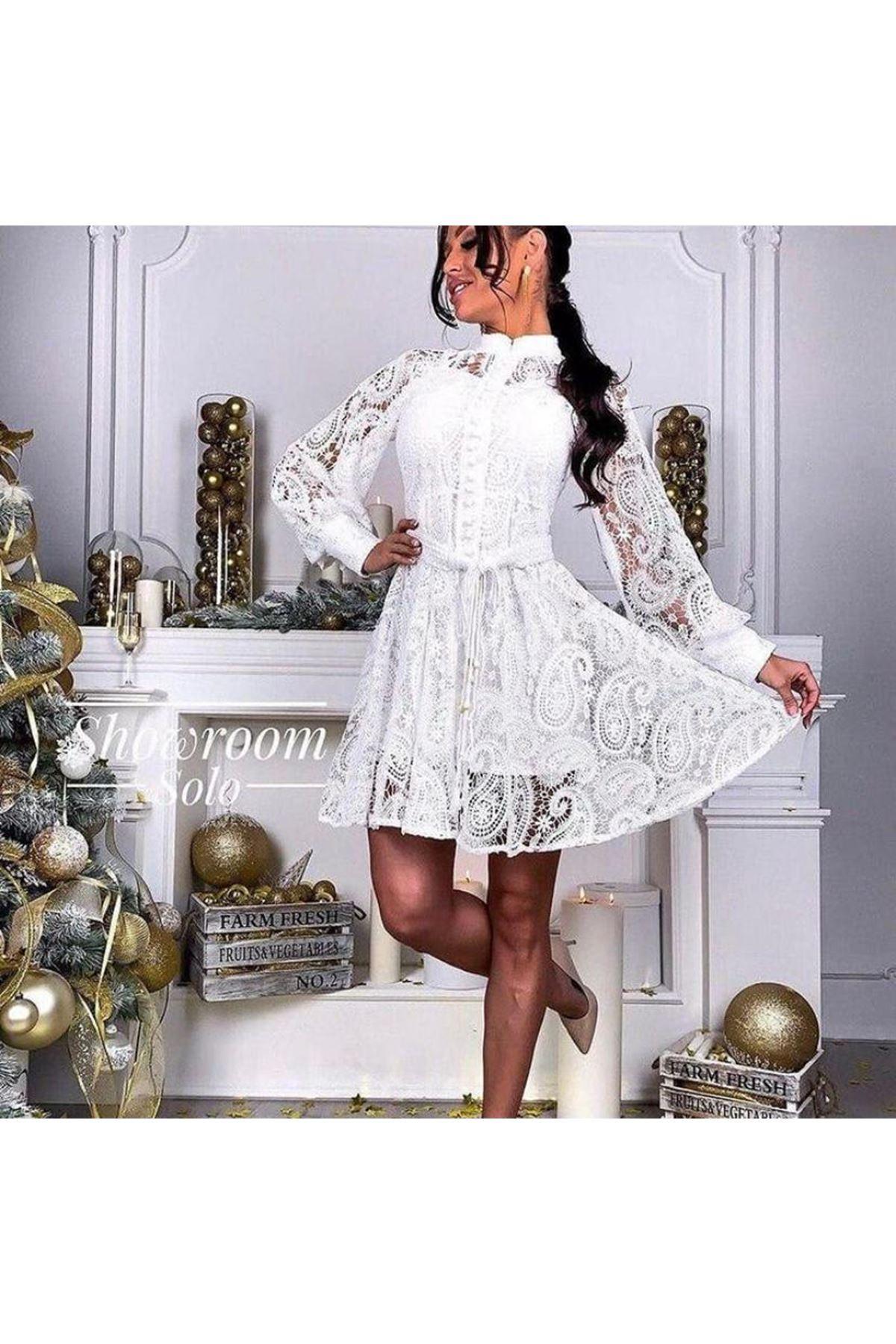 Düğmeli Balon Kol Güpür Elbise - beyaz