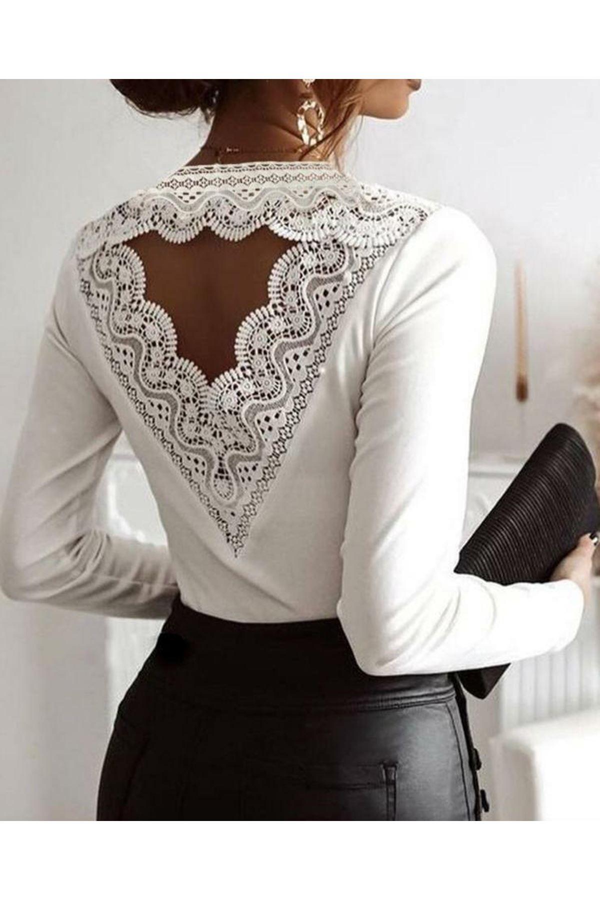 Sırt Güpür Detaylı Bluz - beyaz