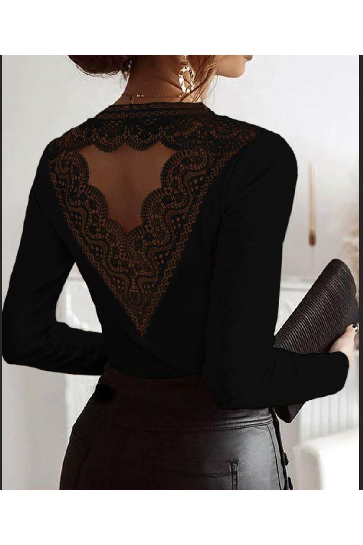 Sırt Güpür Detaylı Bluz - siyah
