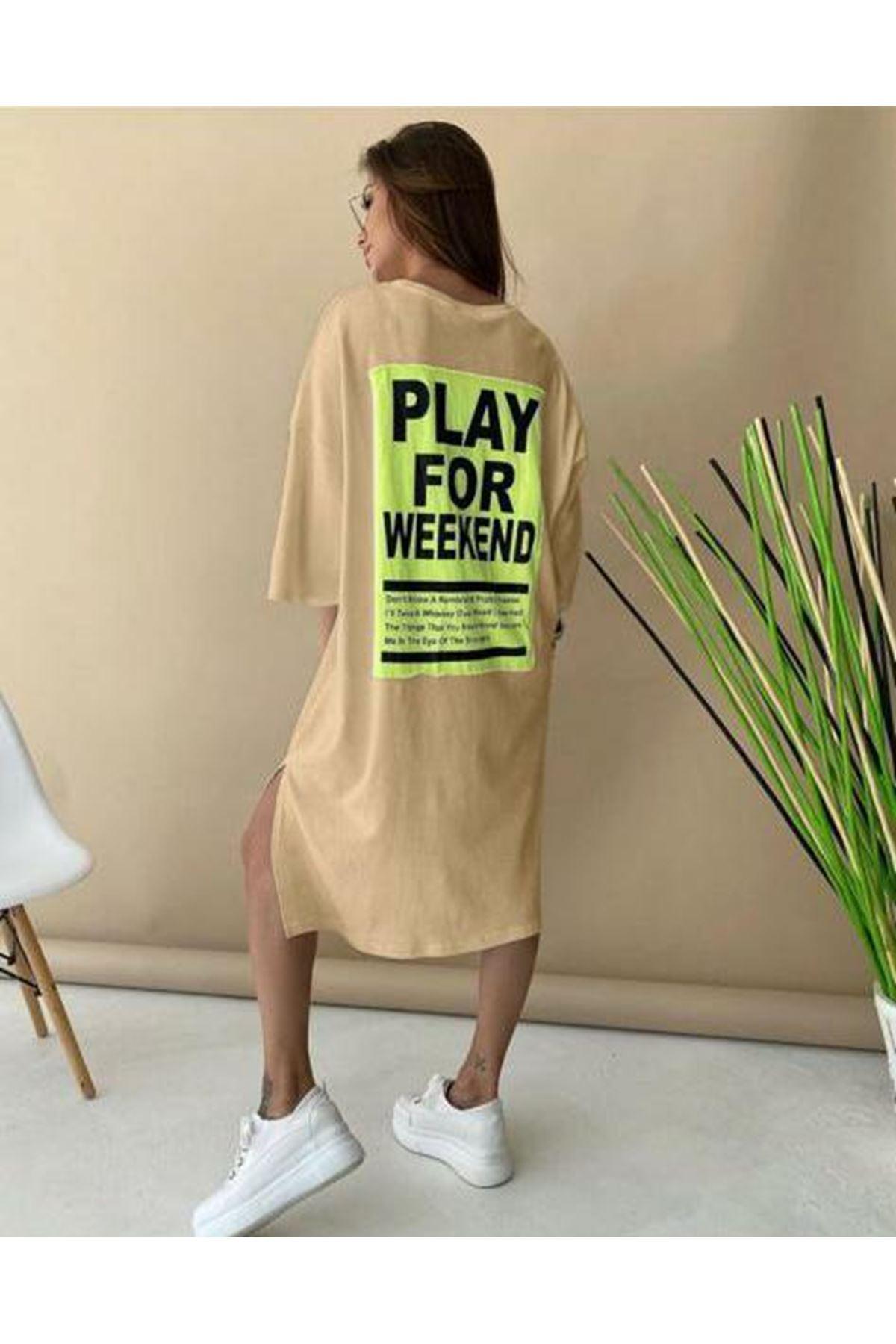 Baskılı Tunik Elbise - bej
