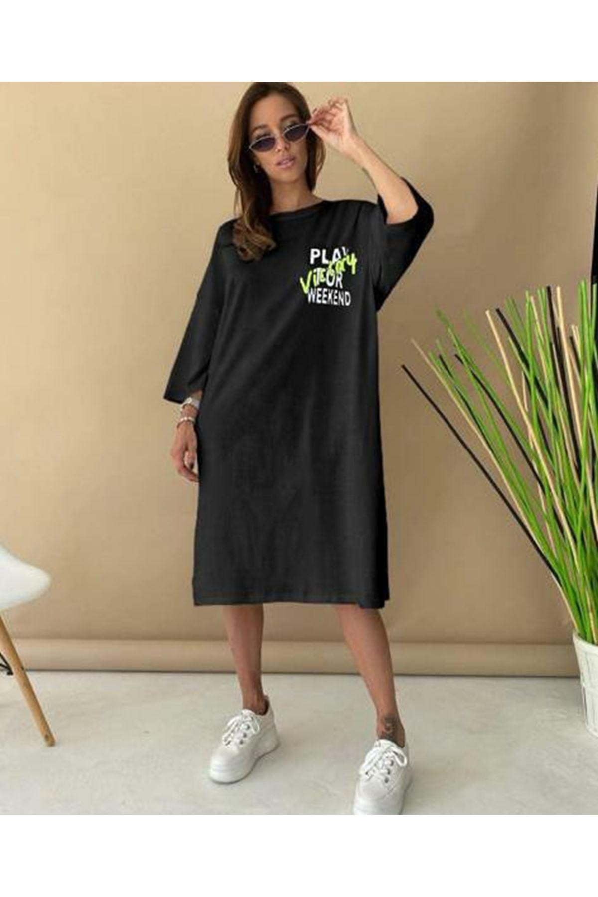Baskılı Tunik Elbise - siyah