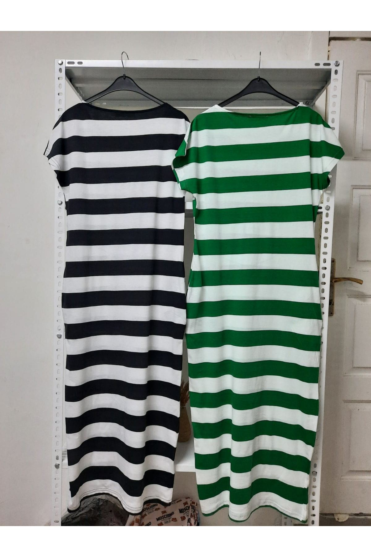 Çapa Baskılı Çizgi Desen Elbise - YEŞİL