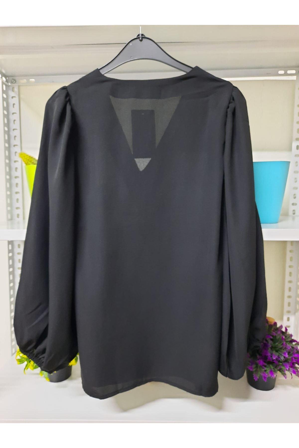 Balon Kol Jessica Kumaş Bluz - siyah