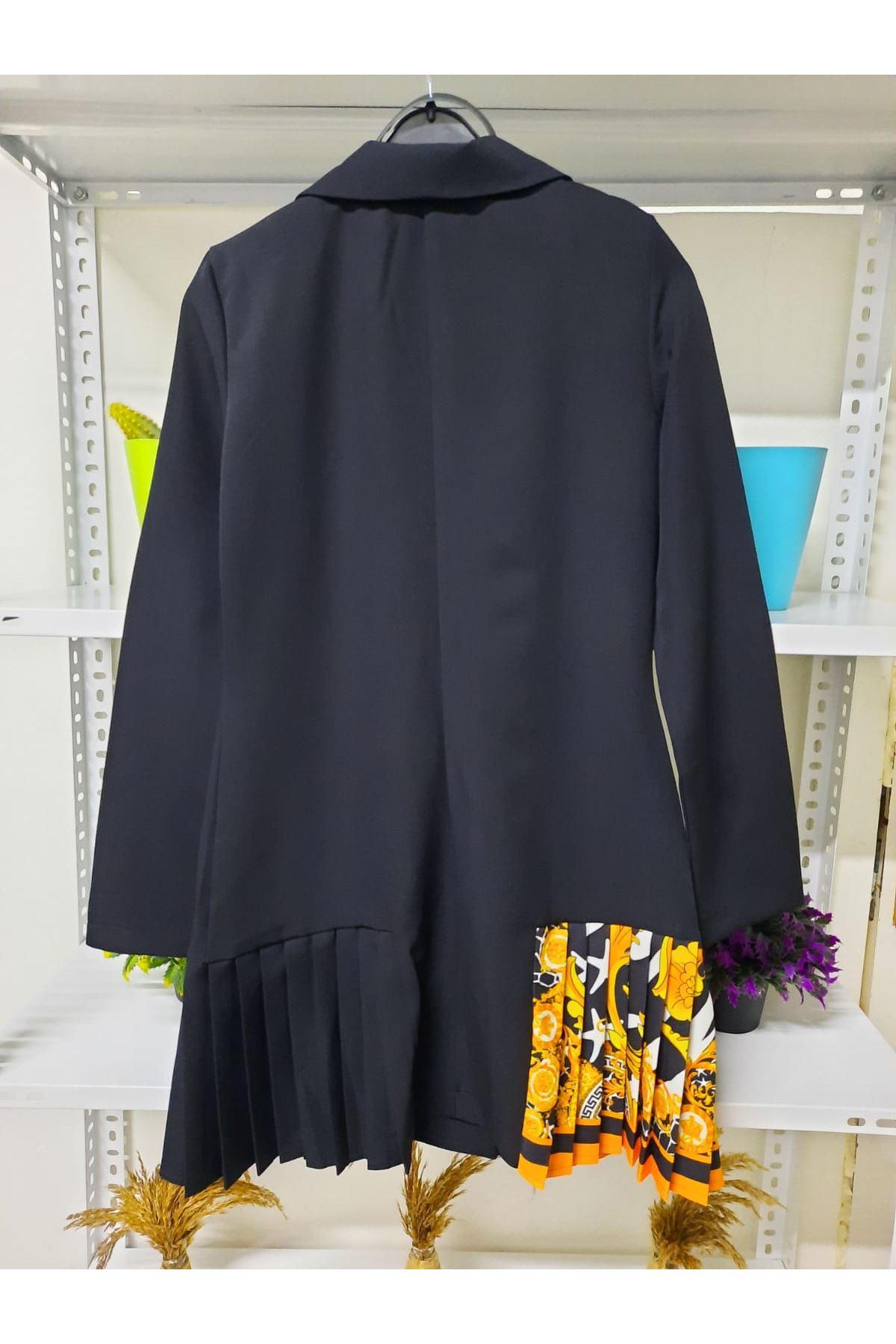 Yanı Piliseli Ceket Elbise - siyah