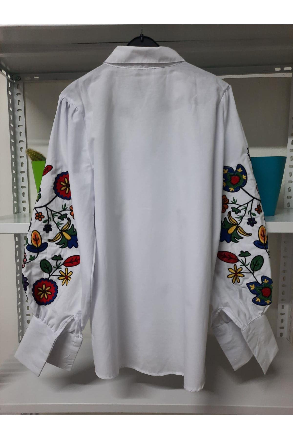 Nakış Detaylı Gömlek - beyaz