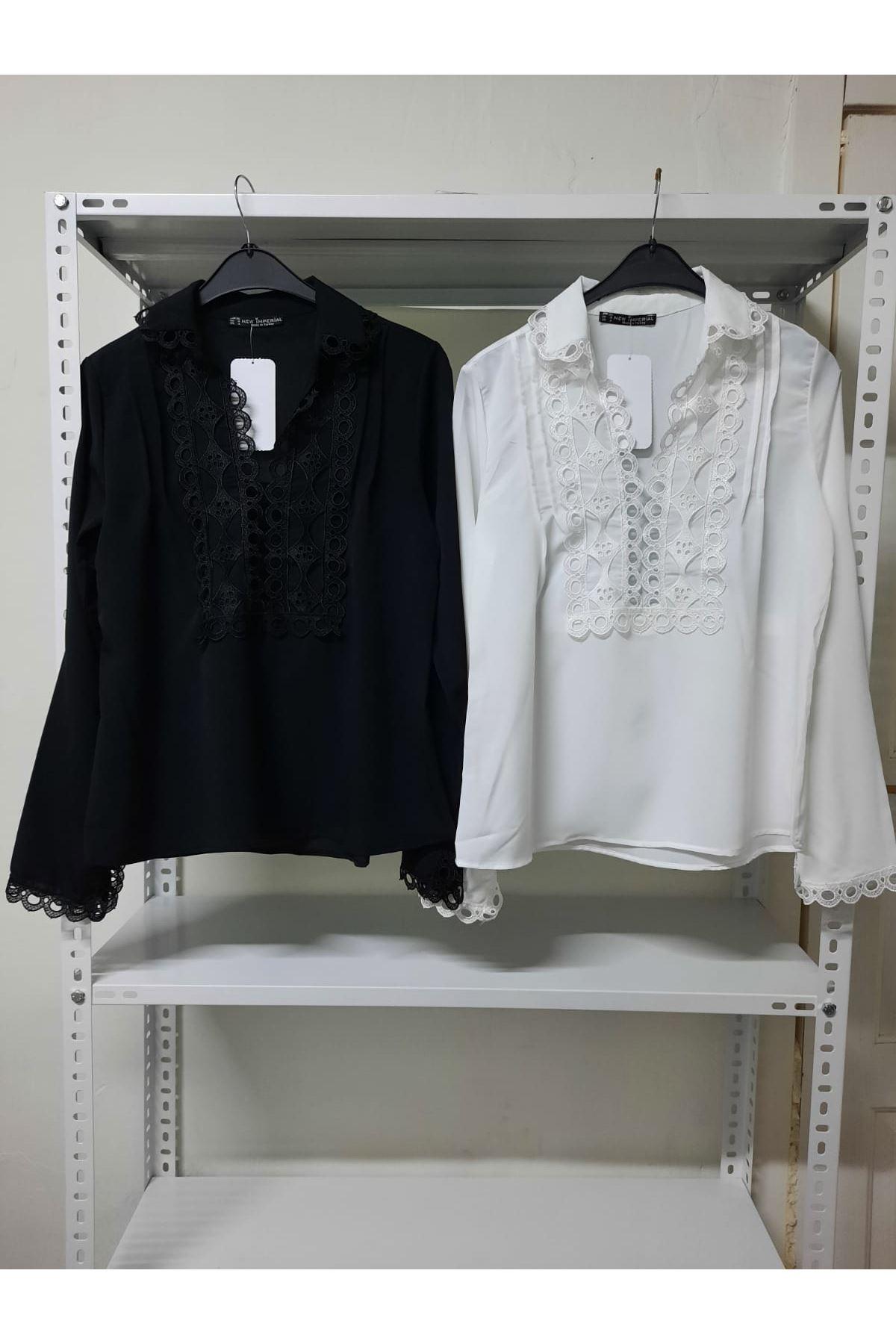 Önü Dantel Detaylı Gömlek  - siyah