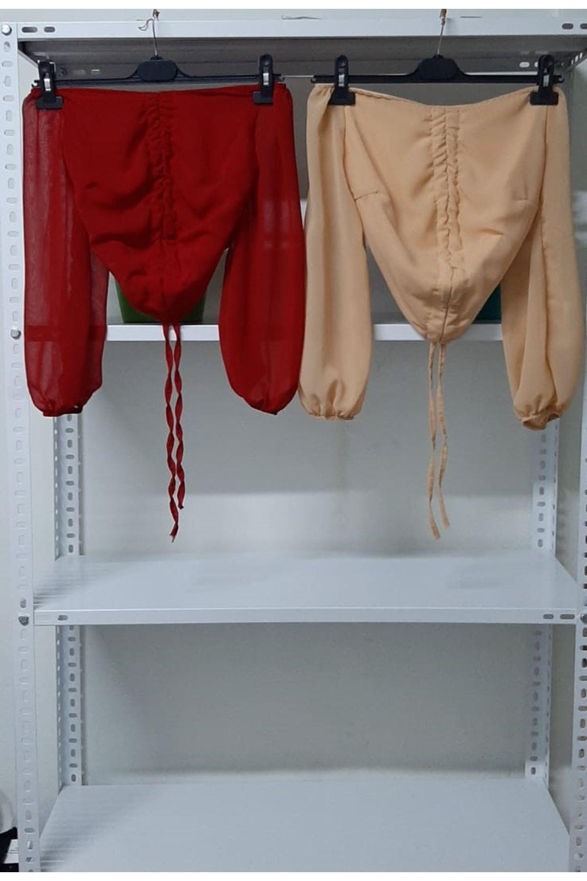 Kolu Tül Büzgülü Bluz - kırmızı