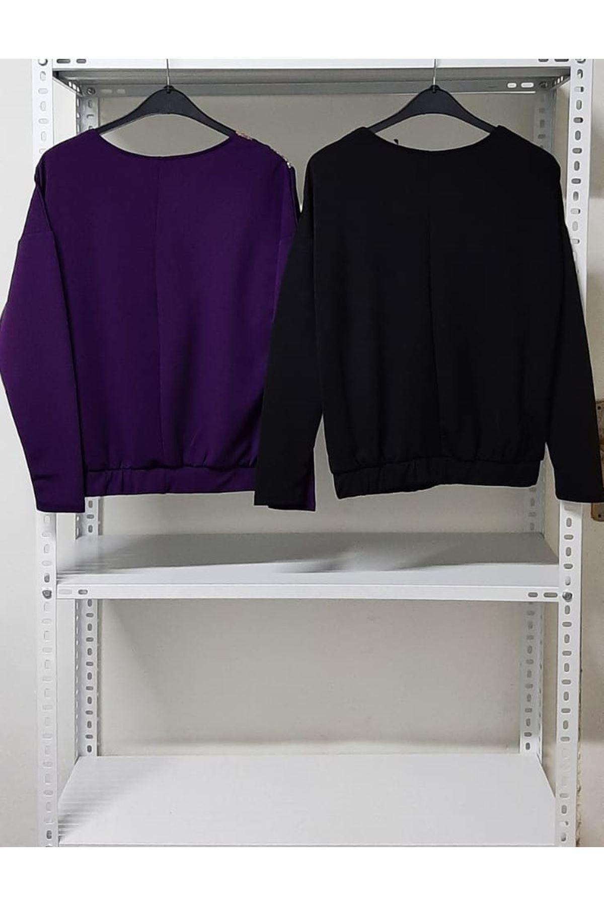 V Yaka Şeritli Bluz - siyah