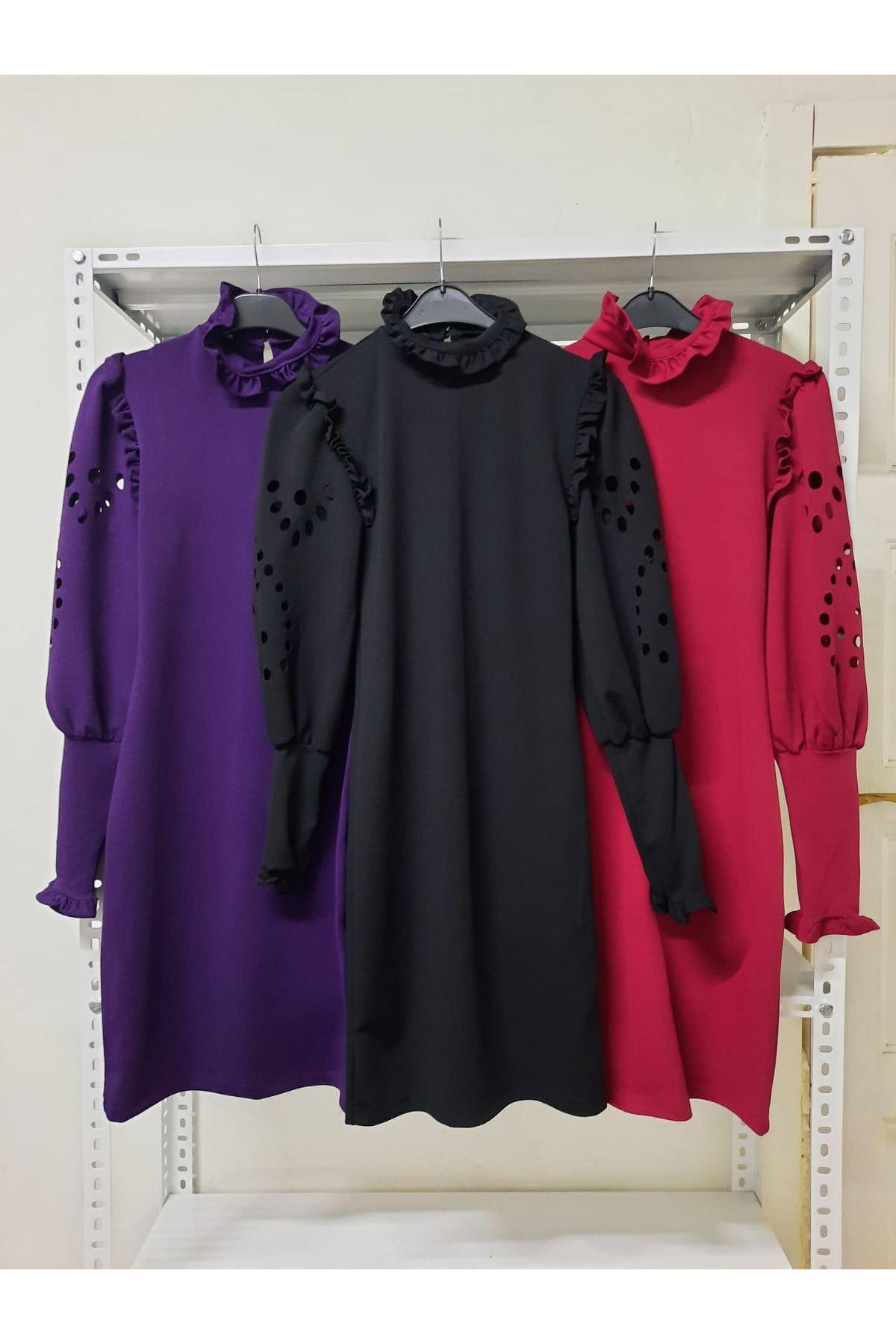 Kol Detaylı Krep Elbise - mürdüm