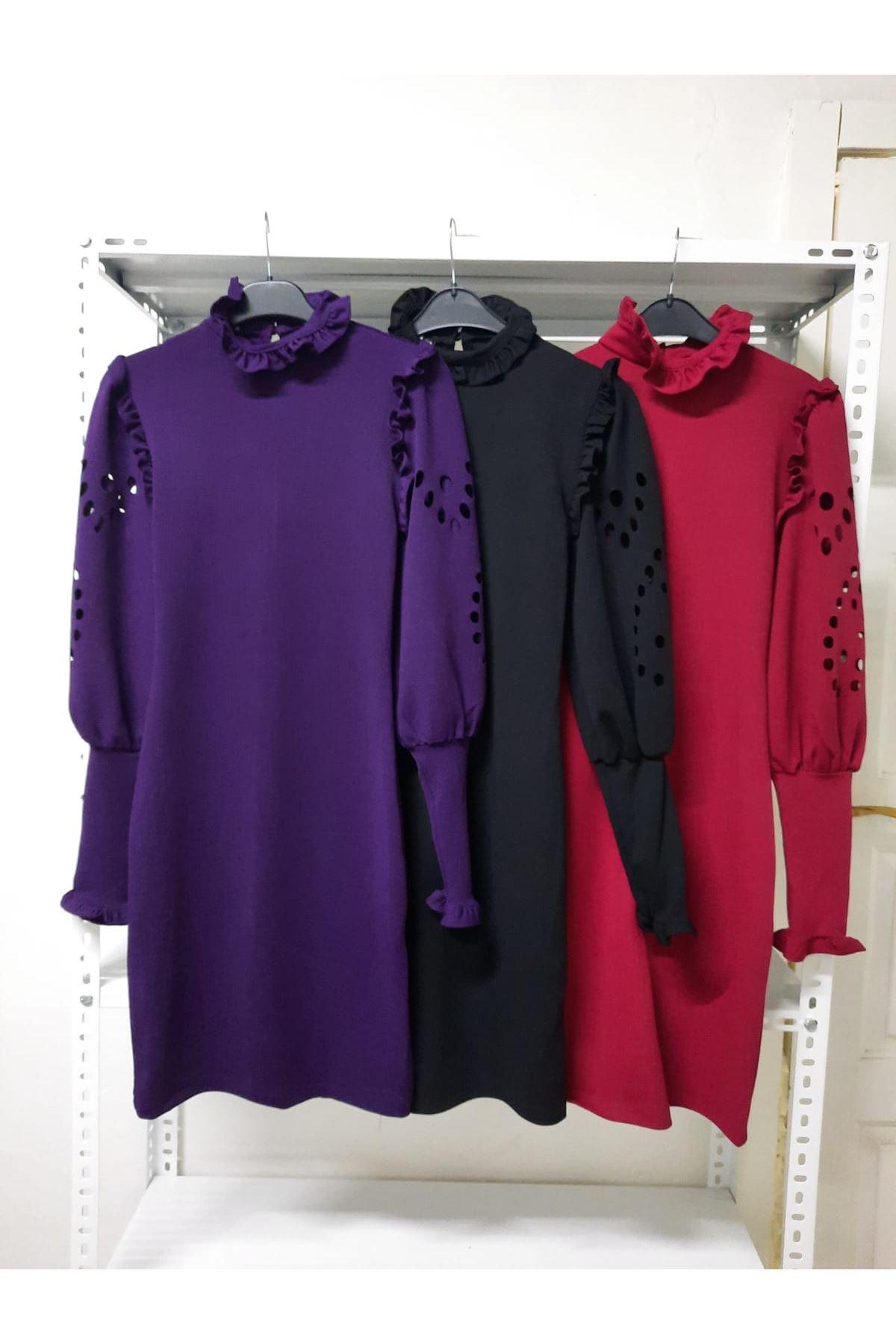 Kol Detaylı Krep Elbise - bordo