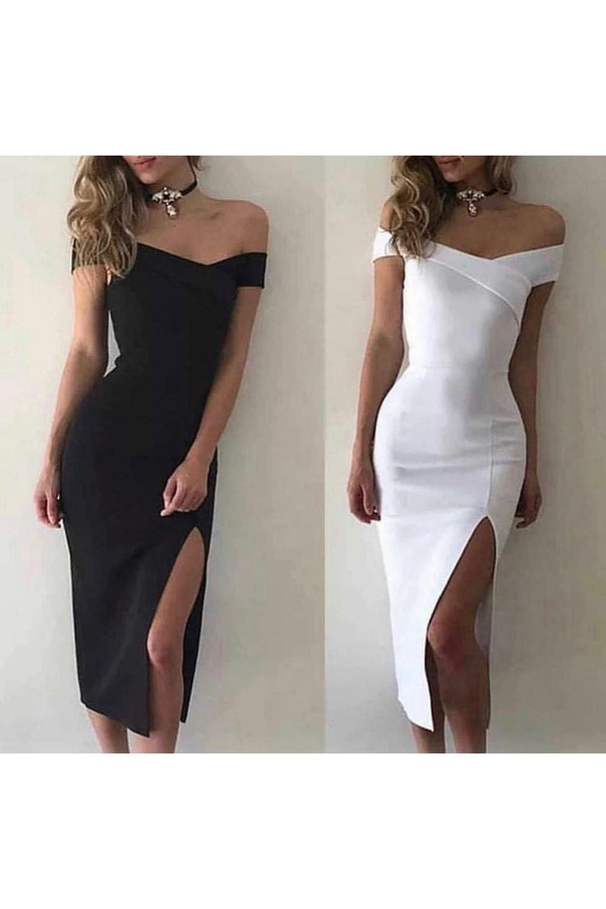 Etek Yırtmaçlı Dalgıç Kumaş Elbise - beyaz