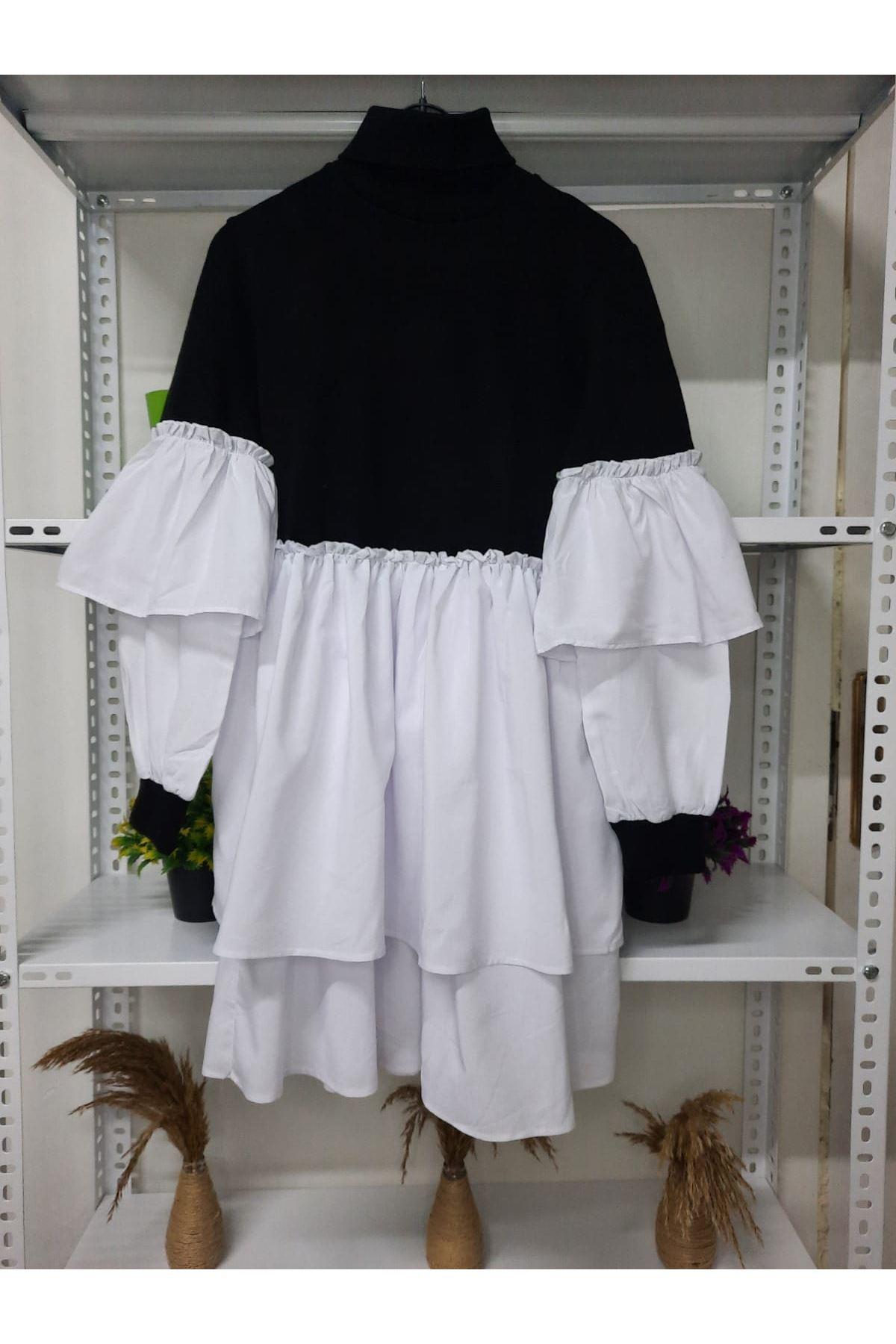 Boğazlı Triko Elbise - siyah