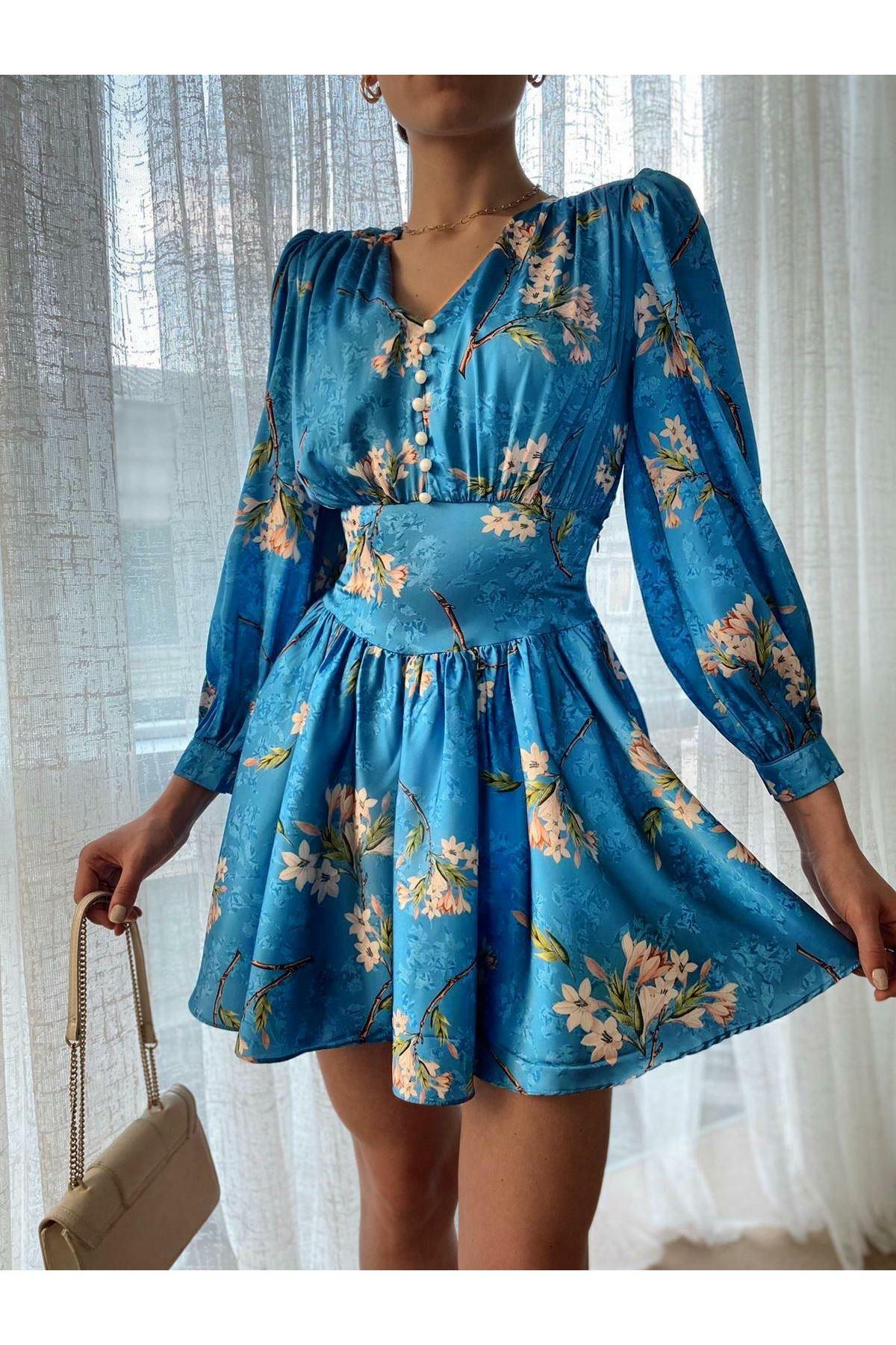 Çiçek Desen Saten Elbise  - Mavi