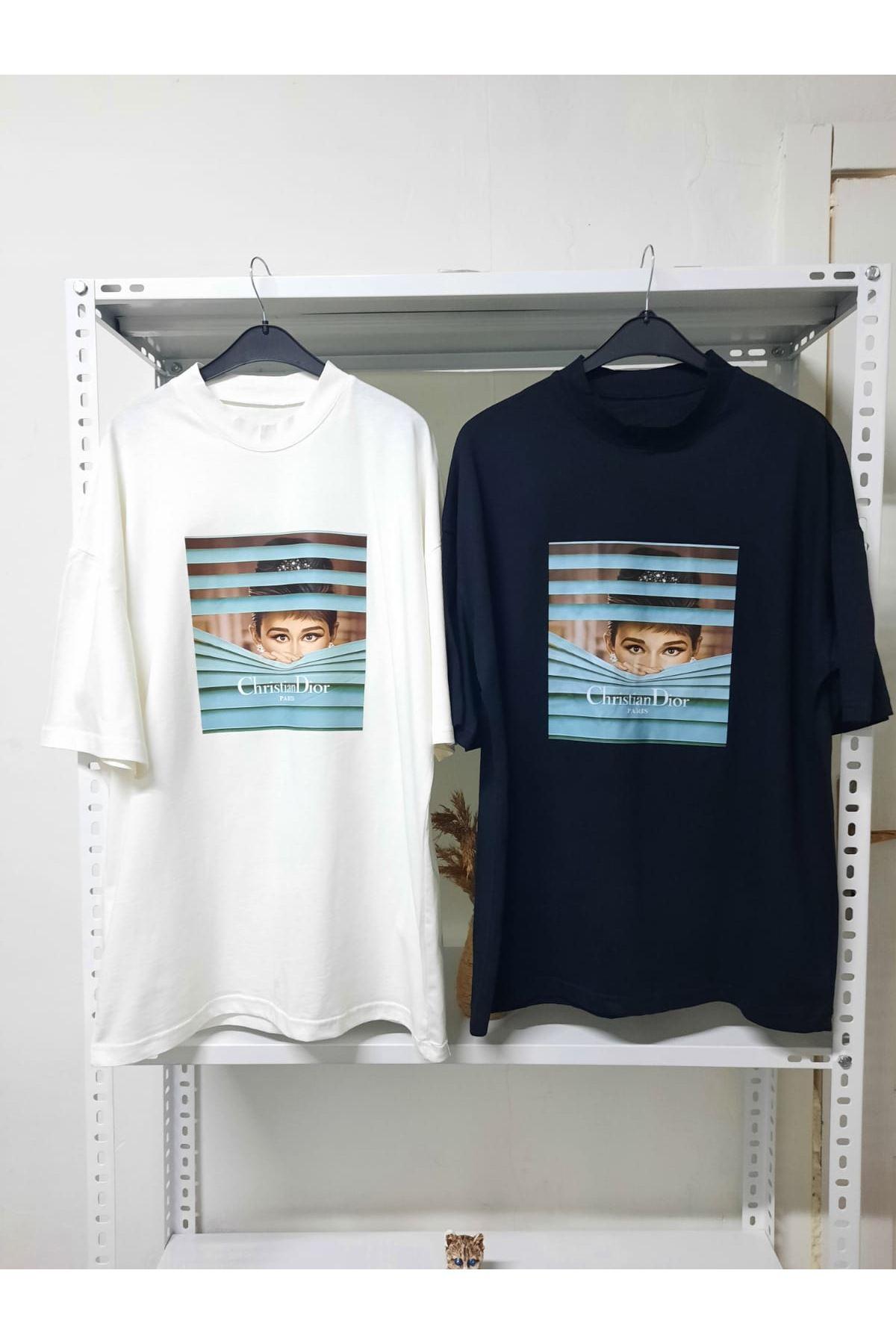 DR Baskılı Oversize T-shirt - Siyah