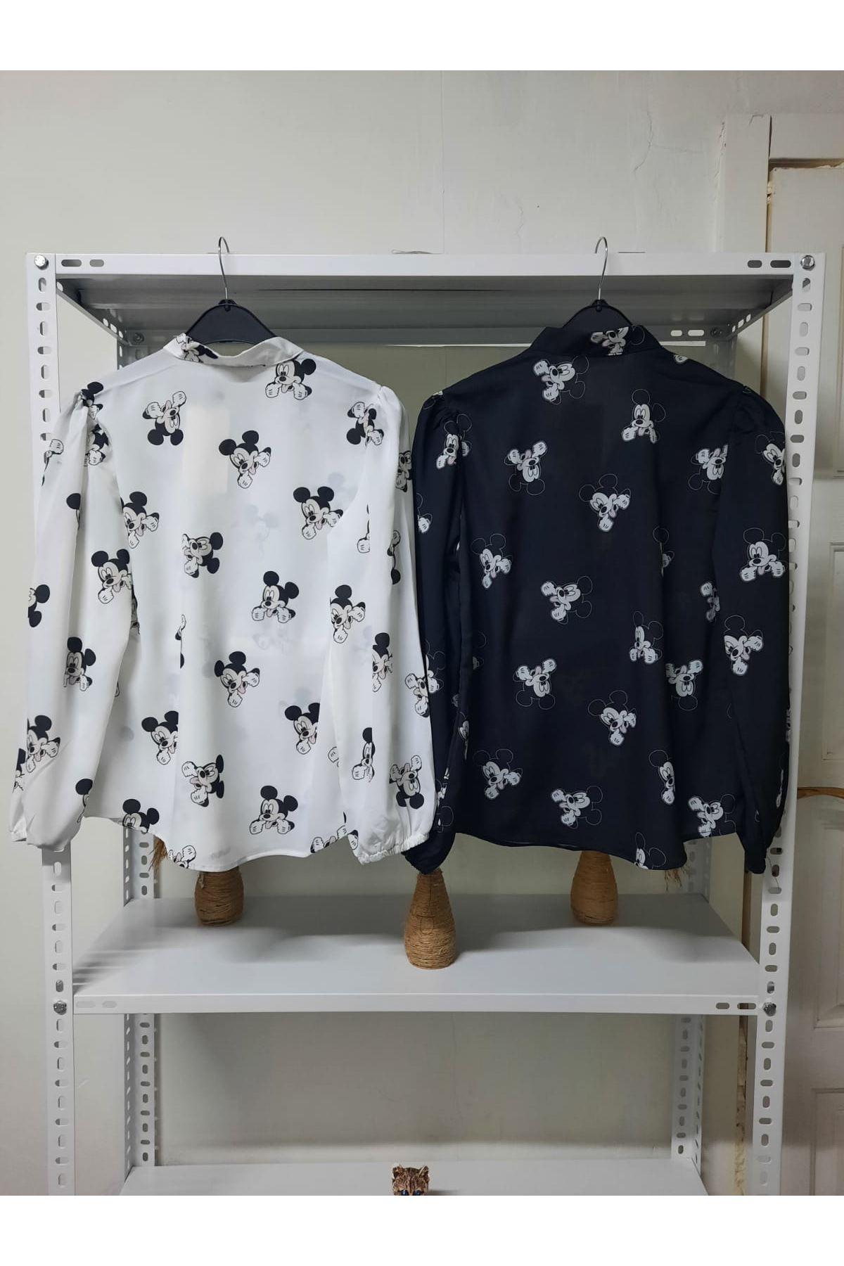 Mıckey Desen Bluz - Siyah