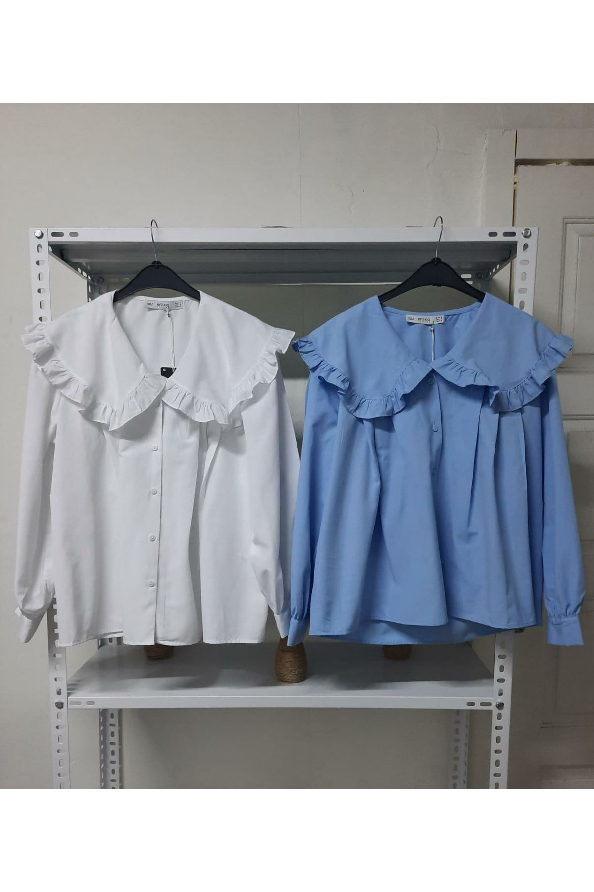 Yaka Fırfırlı Bluz - Beyaz
