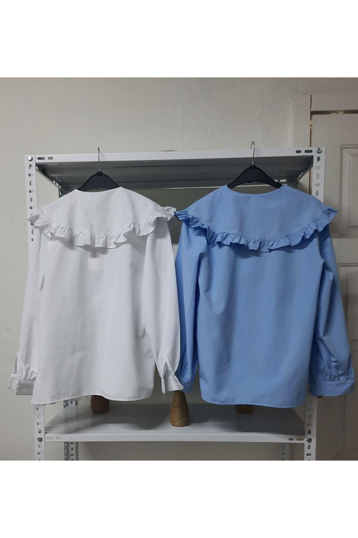 Yaka Fırfırlı Bluz - Mavi