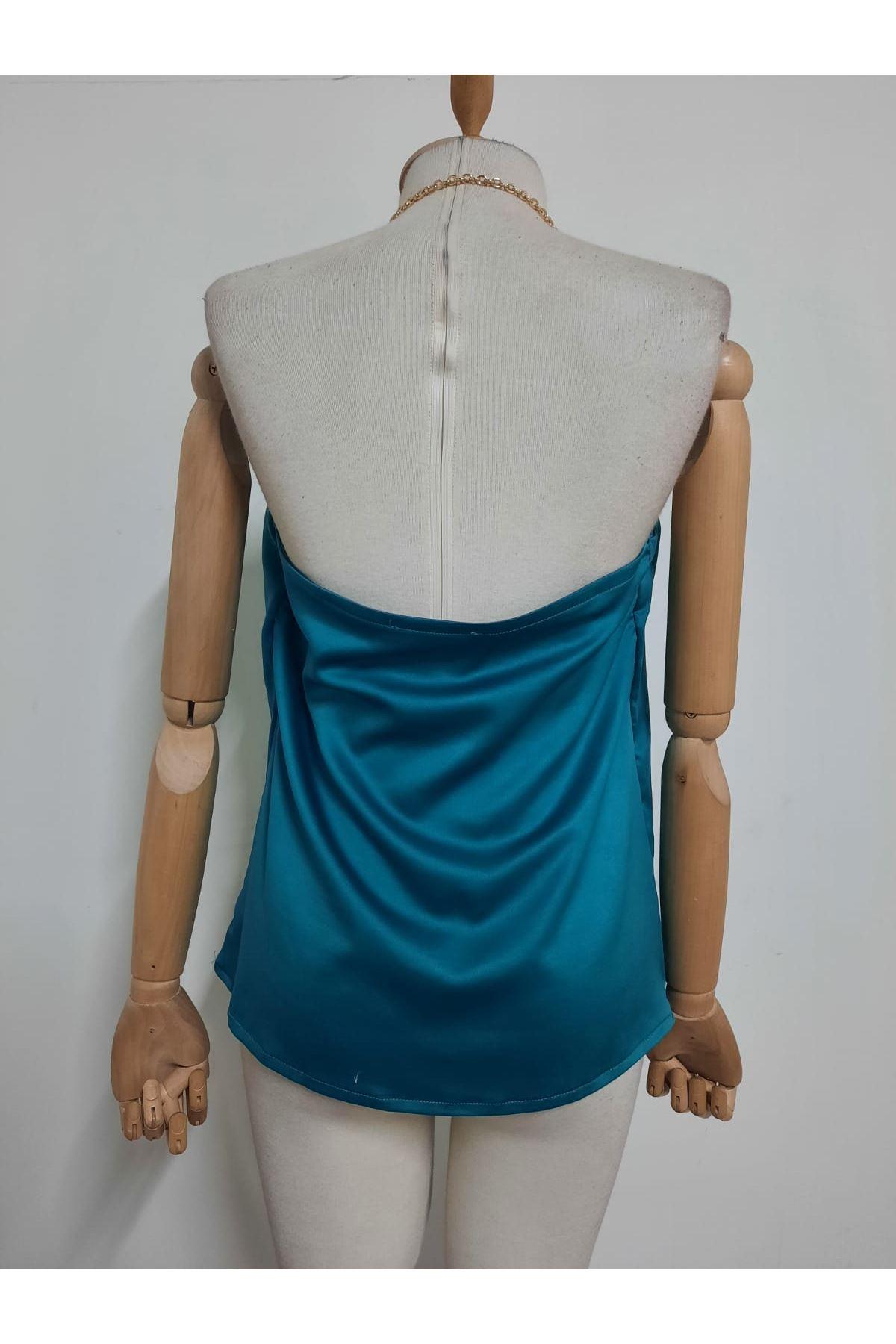 Zincir Askılı Saten Bluz - mavi