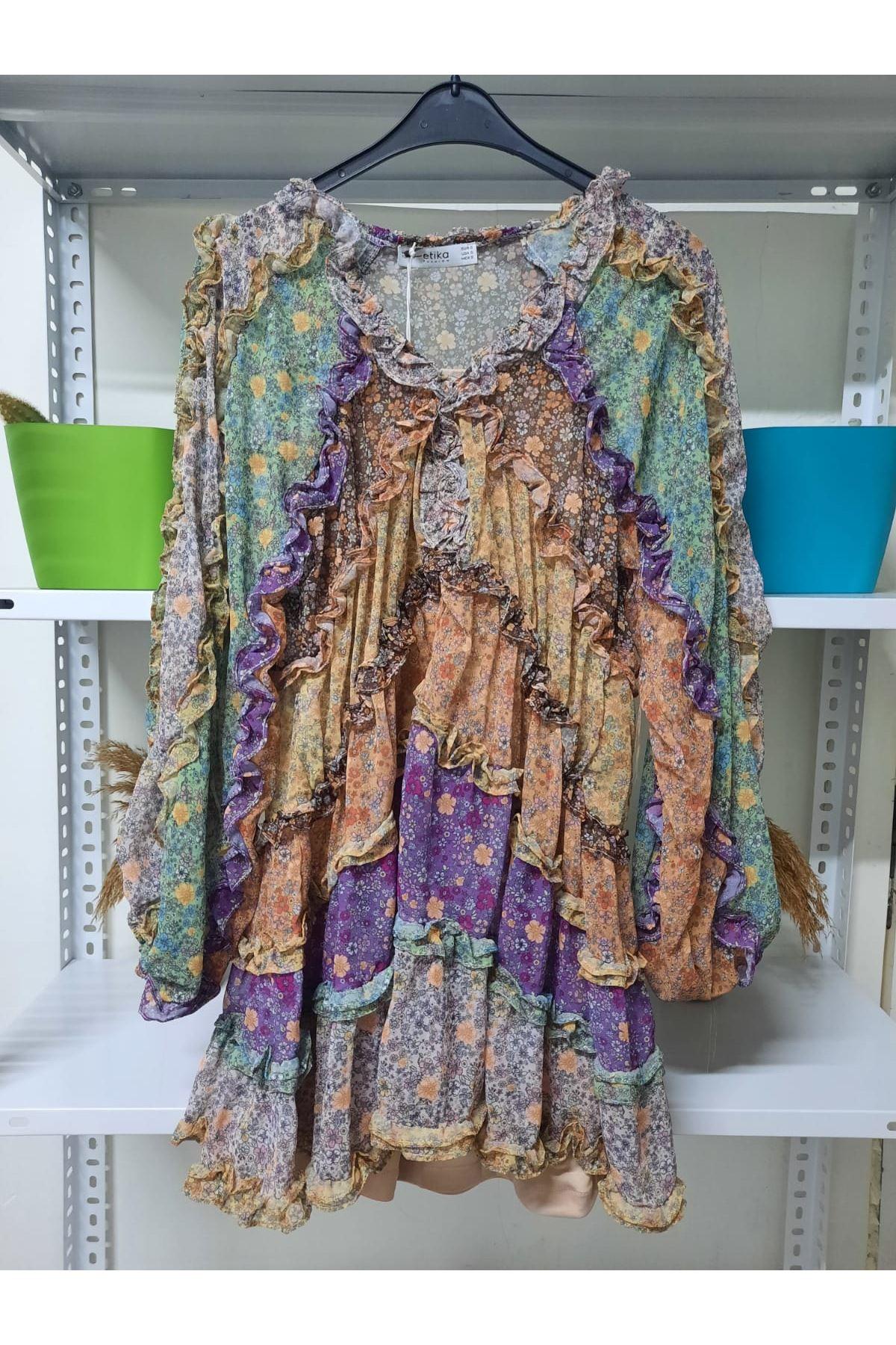 Otantik Desen Şifon Elbise  - Mutli