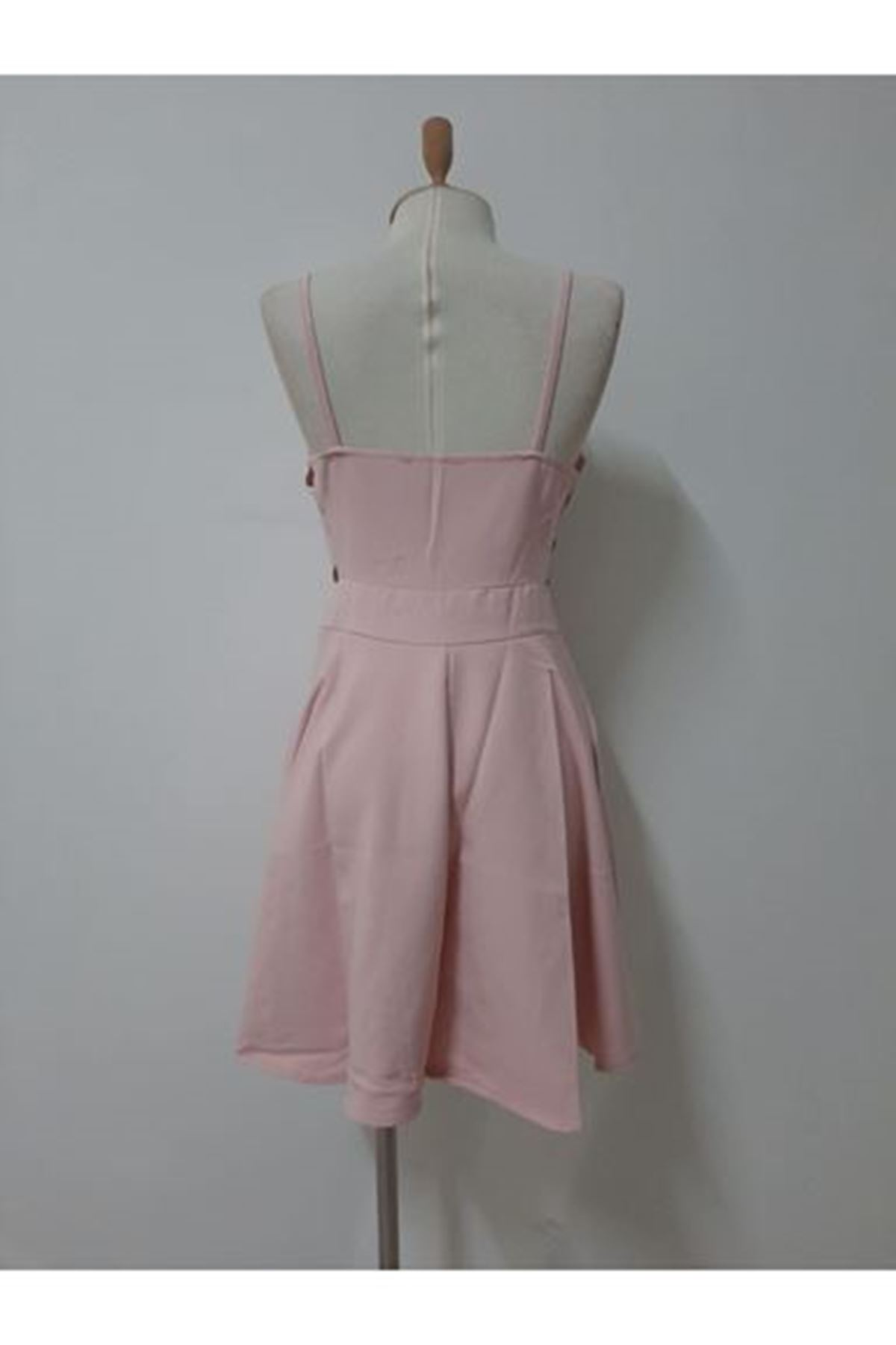 Yanı Detaylı Mini Elbise - pudra