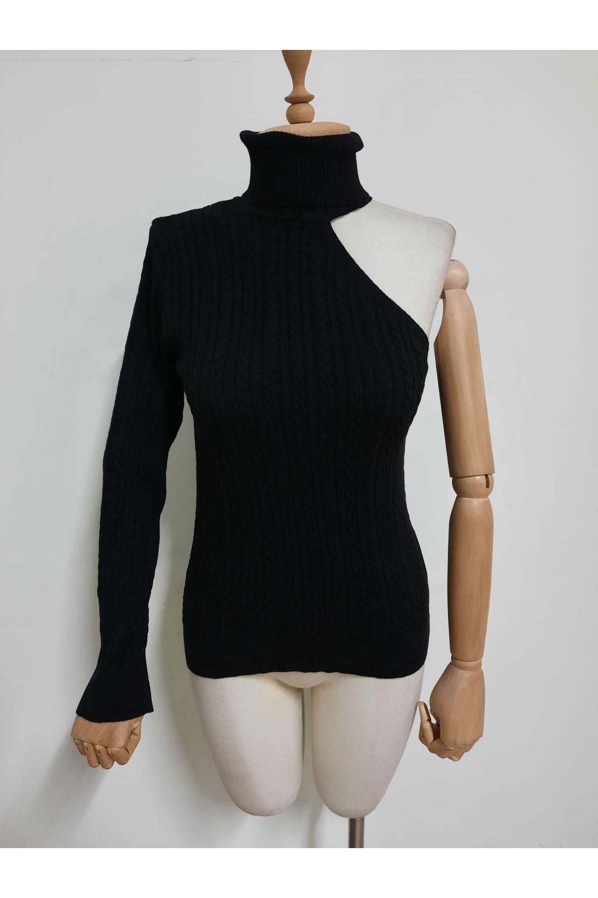 Tek Omuz Boğazlı Bluz - siyah