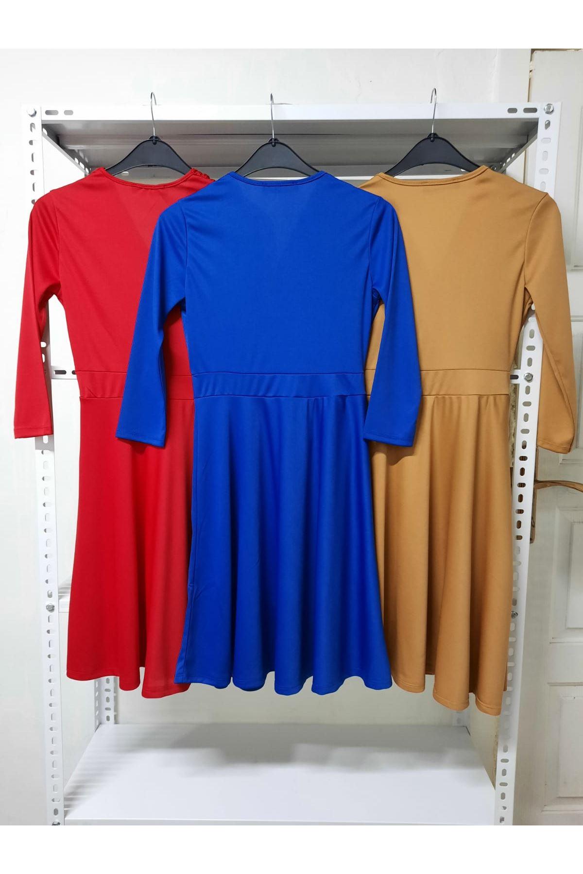 Kruvaze Mini Elbise - sax
